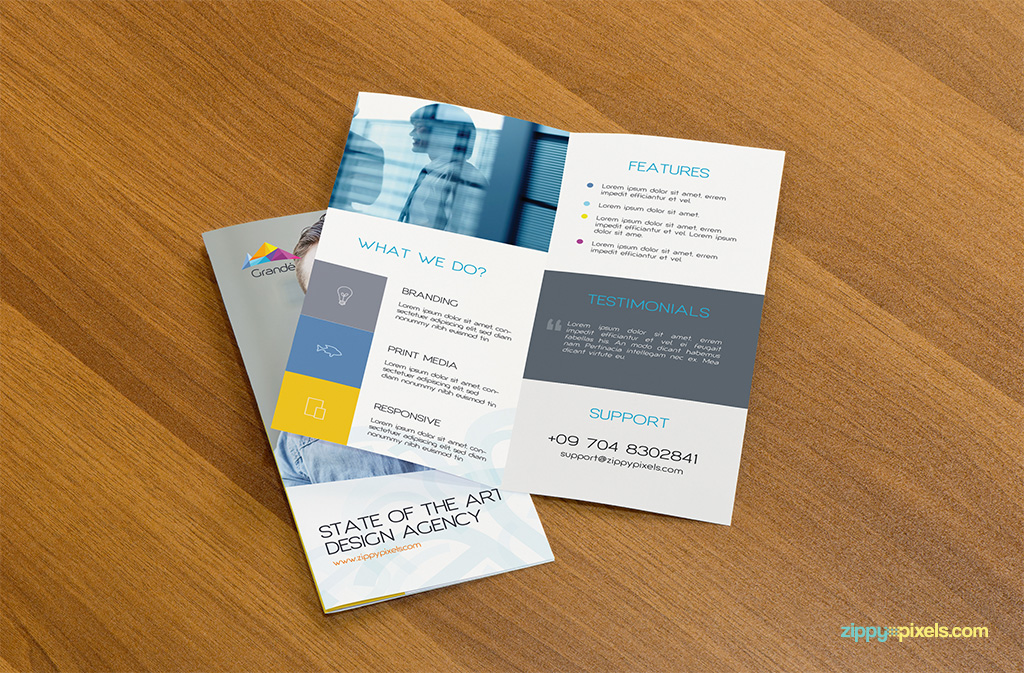 2 Bifold Flyers on Table for Flyer Mockup