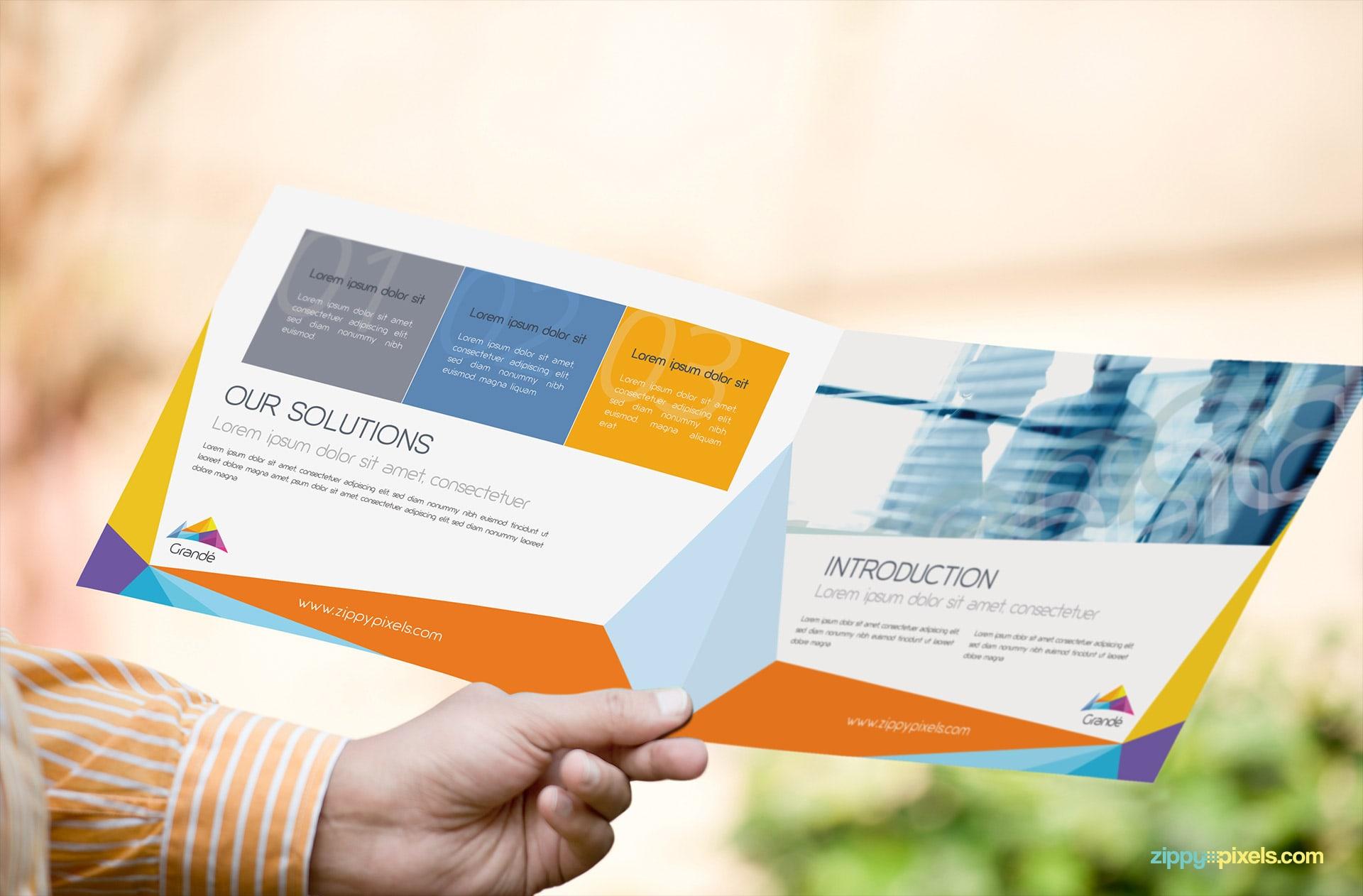 Mockup of Brochure Opened Held in Hand
