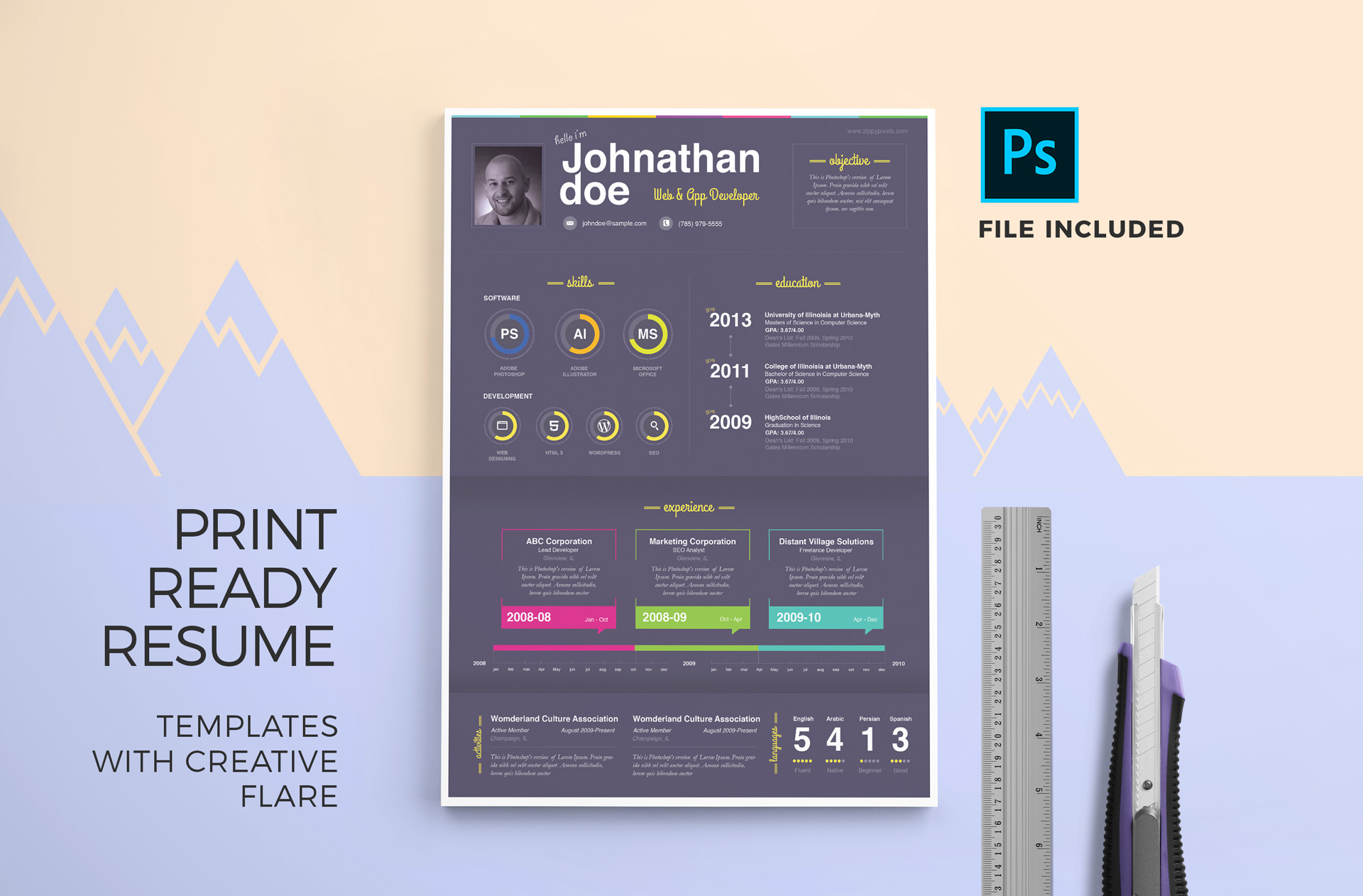 Print Ready Resume Templates With Creative Flare 3 Color Variations 2 Formats PSD DOCX