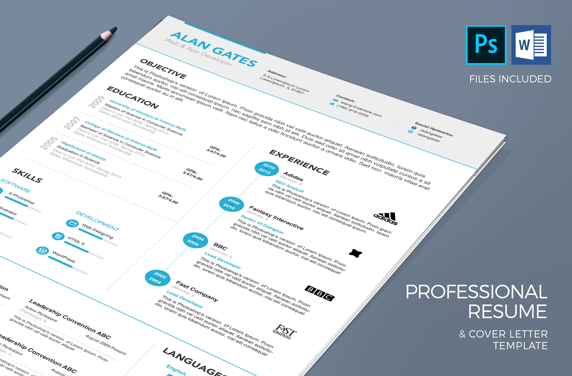 Professional Resume & Cover Letter Template in MS Word & PSD ...