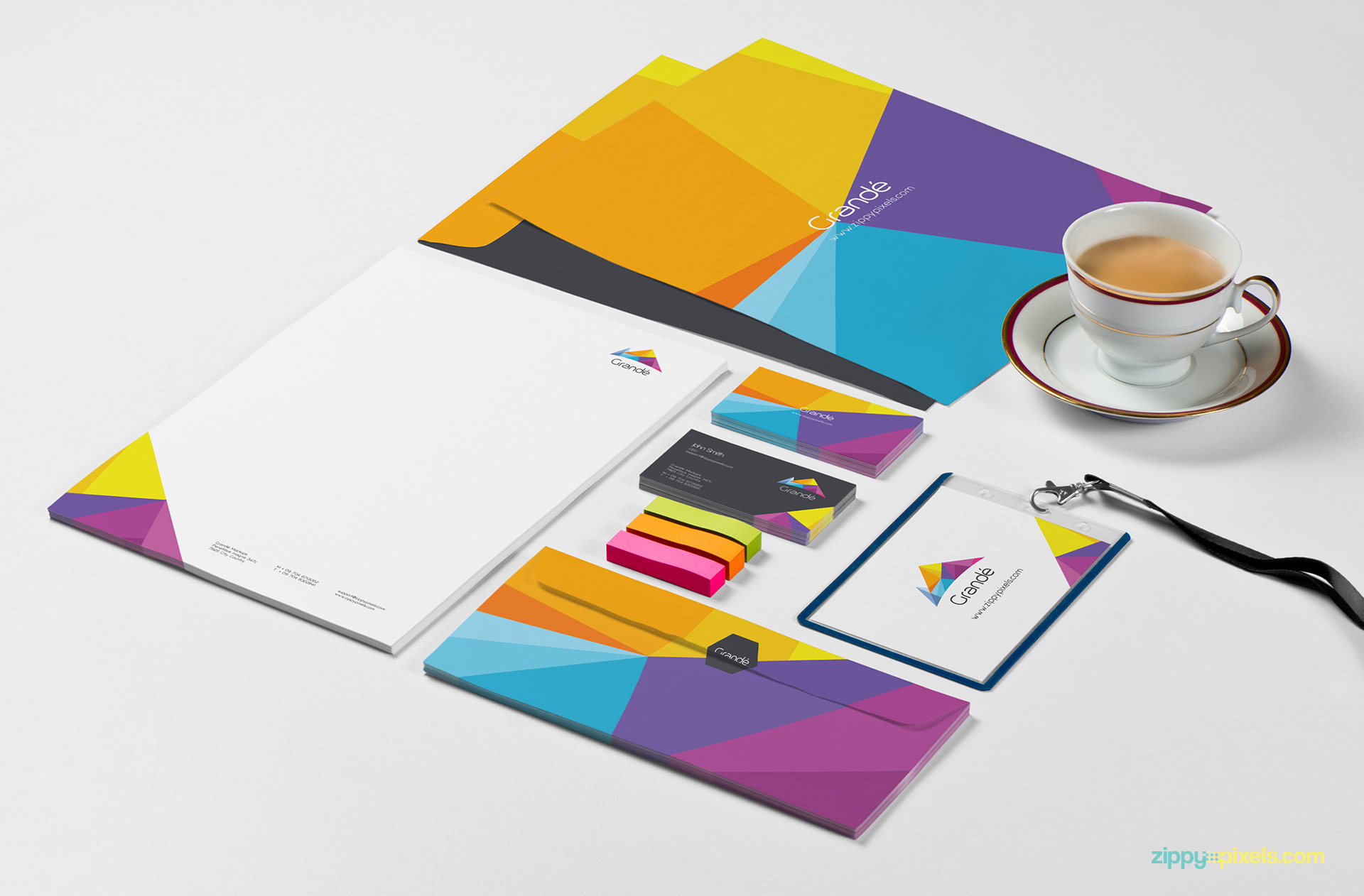 A4 Envelope, A4 Letterhead, Letter Envelope, Business Cards & ID Badge Holder Stationery Mockup for Branding