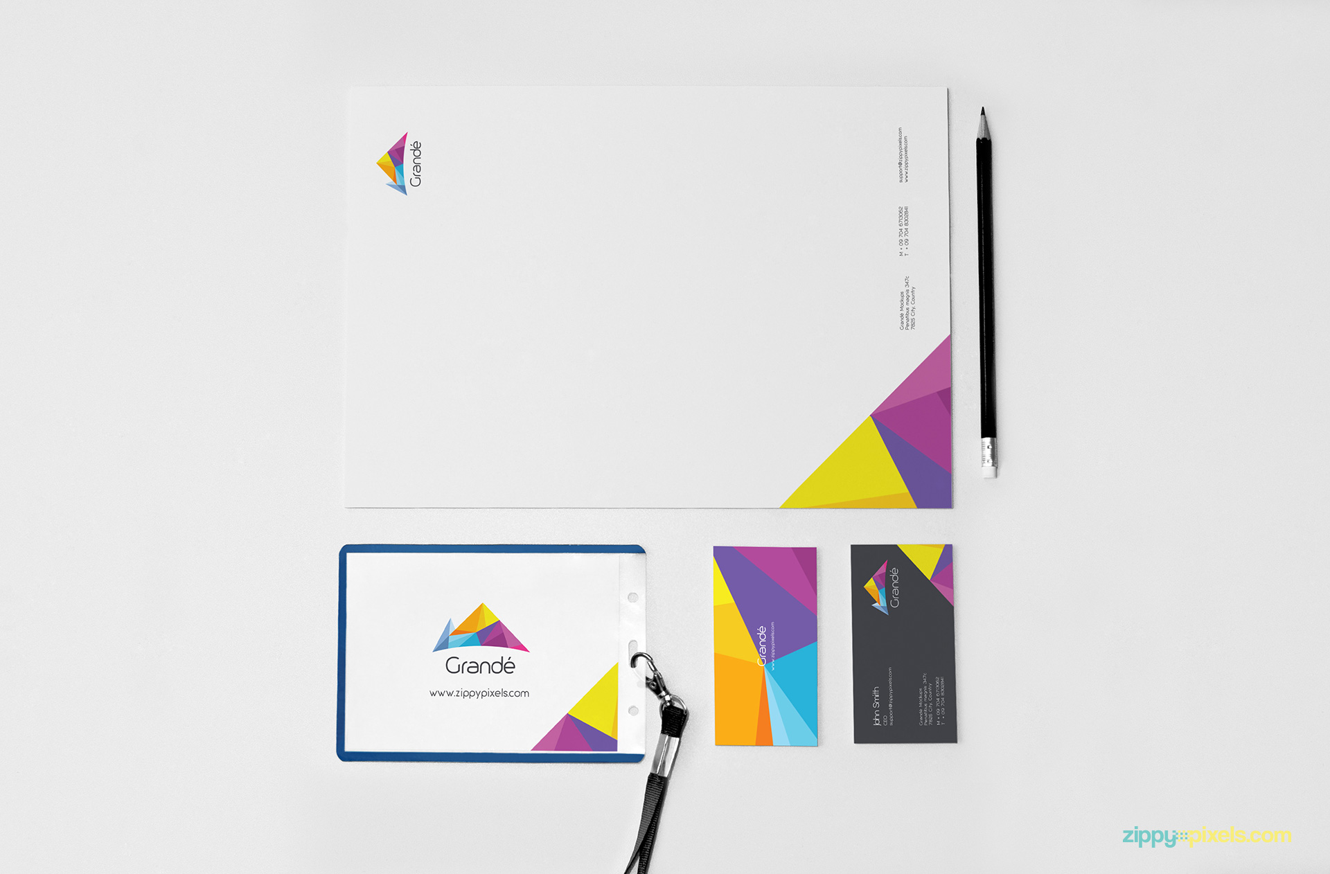 Stationery Branding Mockup of Letterhead, ID badge holder & Business Cards