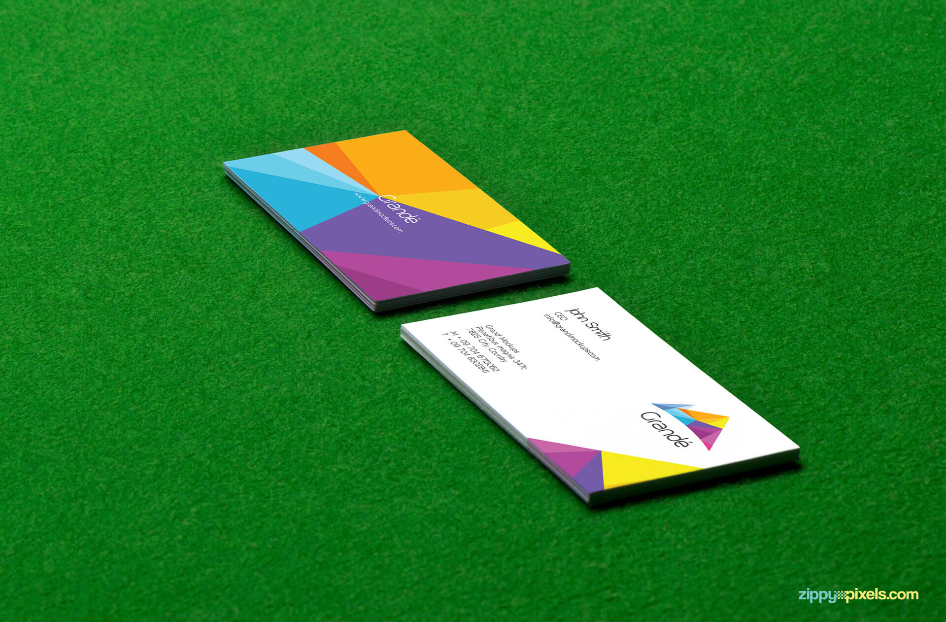 Mockup of Two Business Cards Stacks on Pool Table