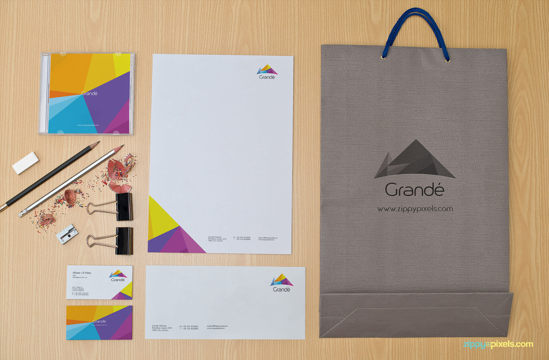 Stationery Mockup of Letterhead, Bag, Business Cards and Envelope