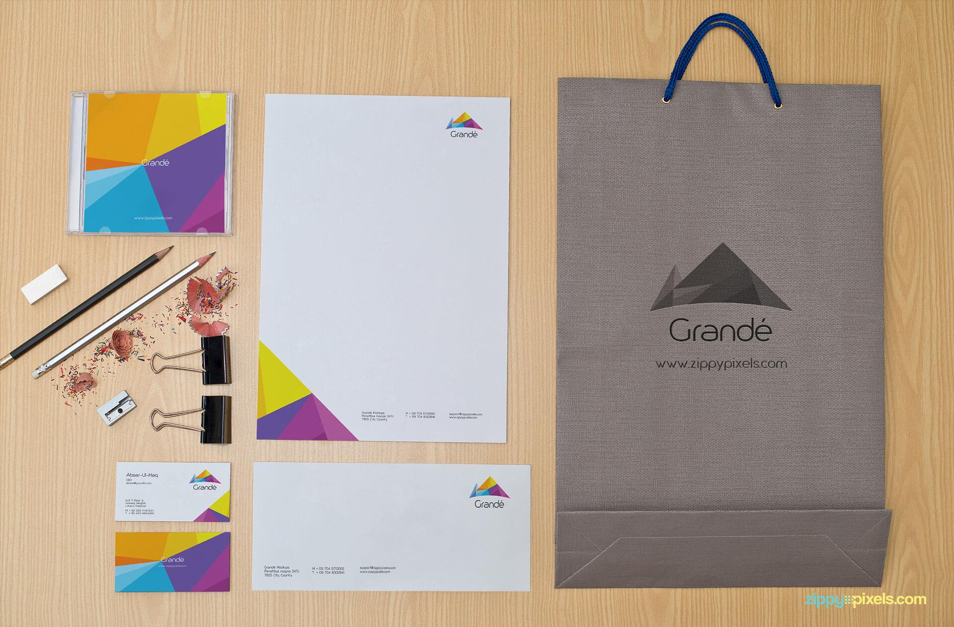 Stationery Mockup of Letterhead, Bag, Business Cards and Envelope
