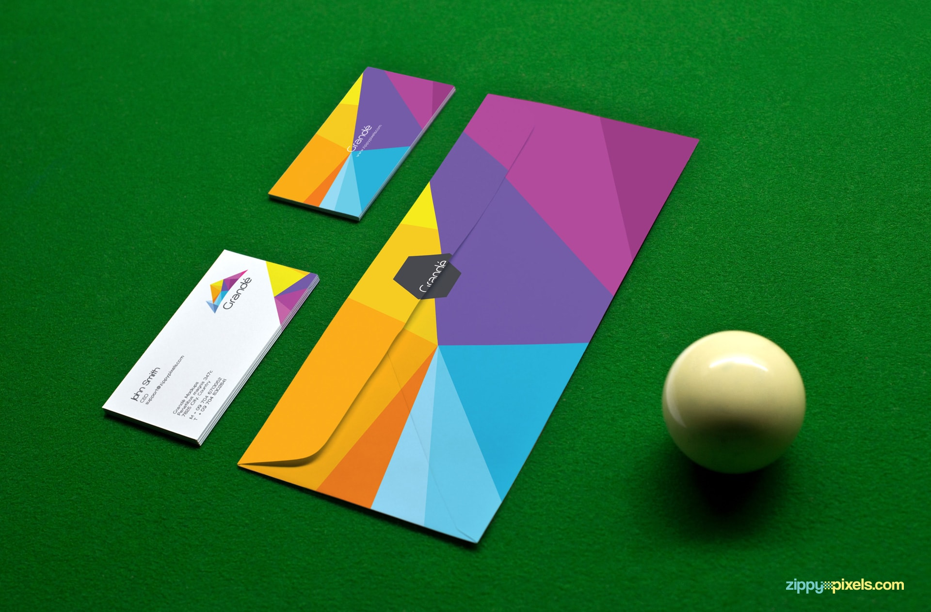Mockup of Business Cards and Envelope on pool table with cue ball for Corporate Identity