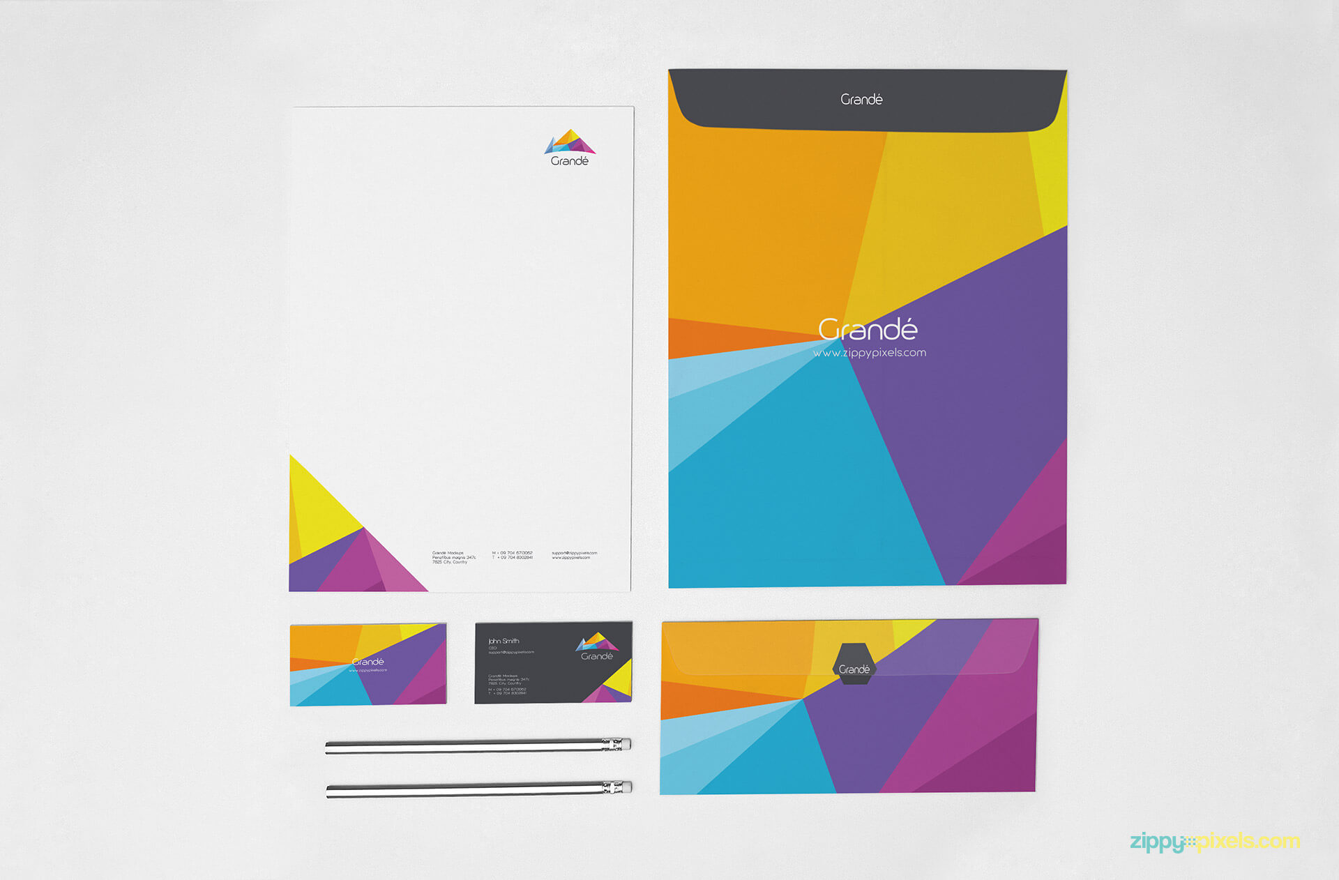 Stationery Mockup of A4 Letterhead, A4 Envelope, Letter Envelope and Business Cards