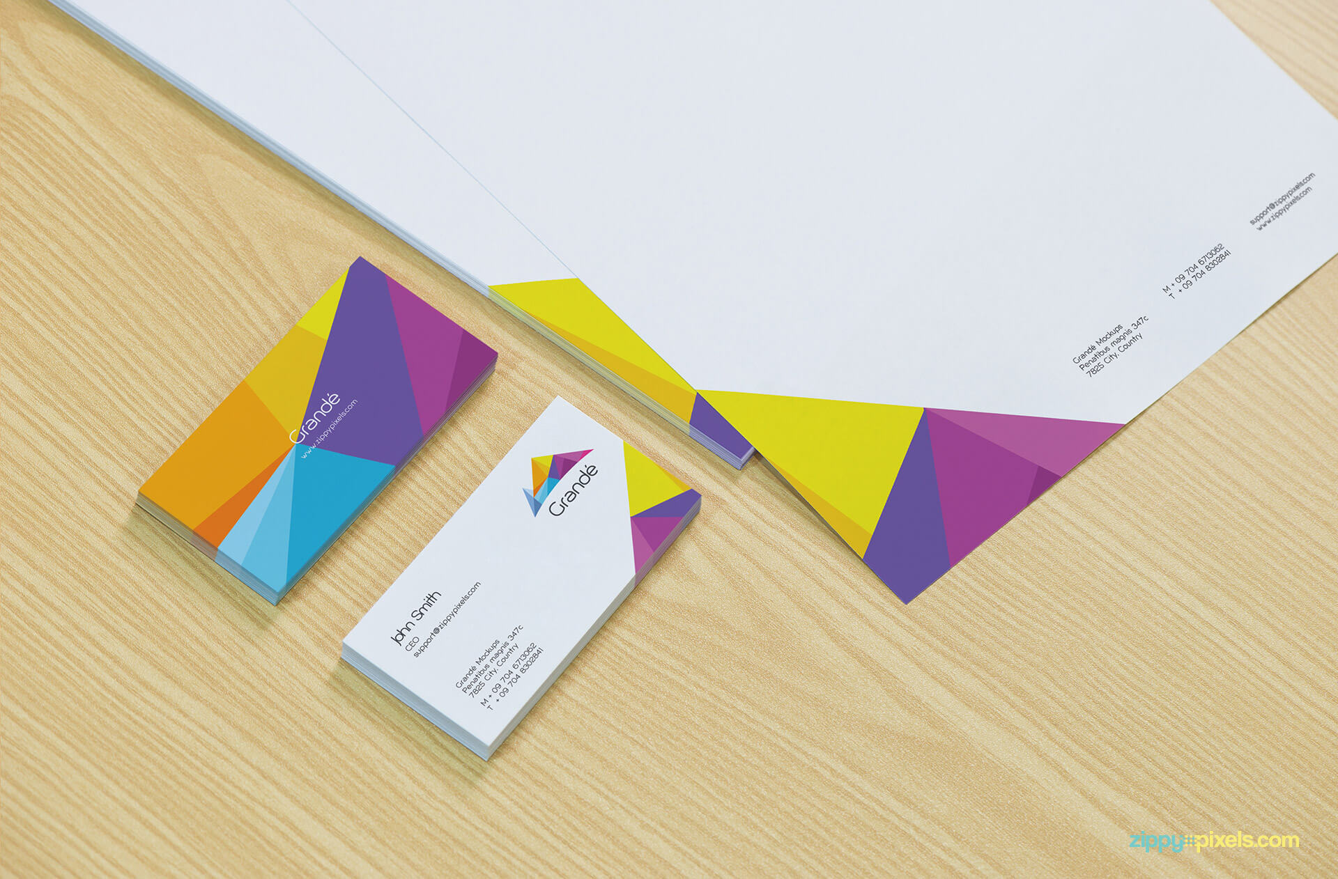Close Shot of Business Cards and Letterhead Mockup