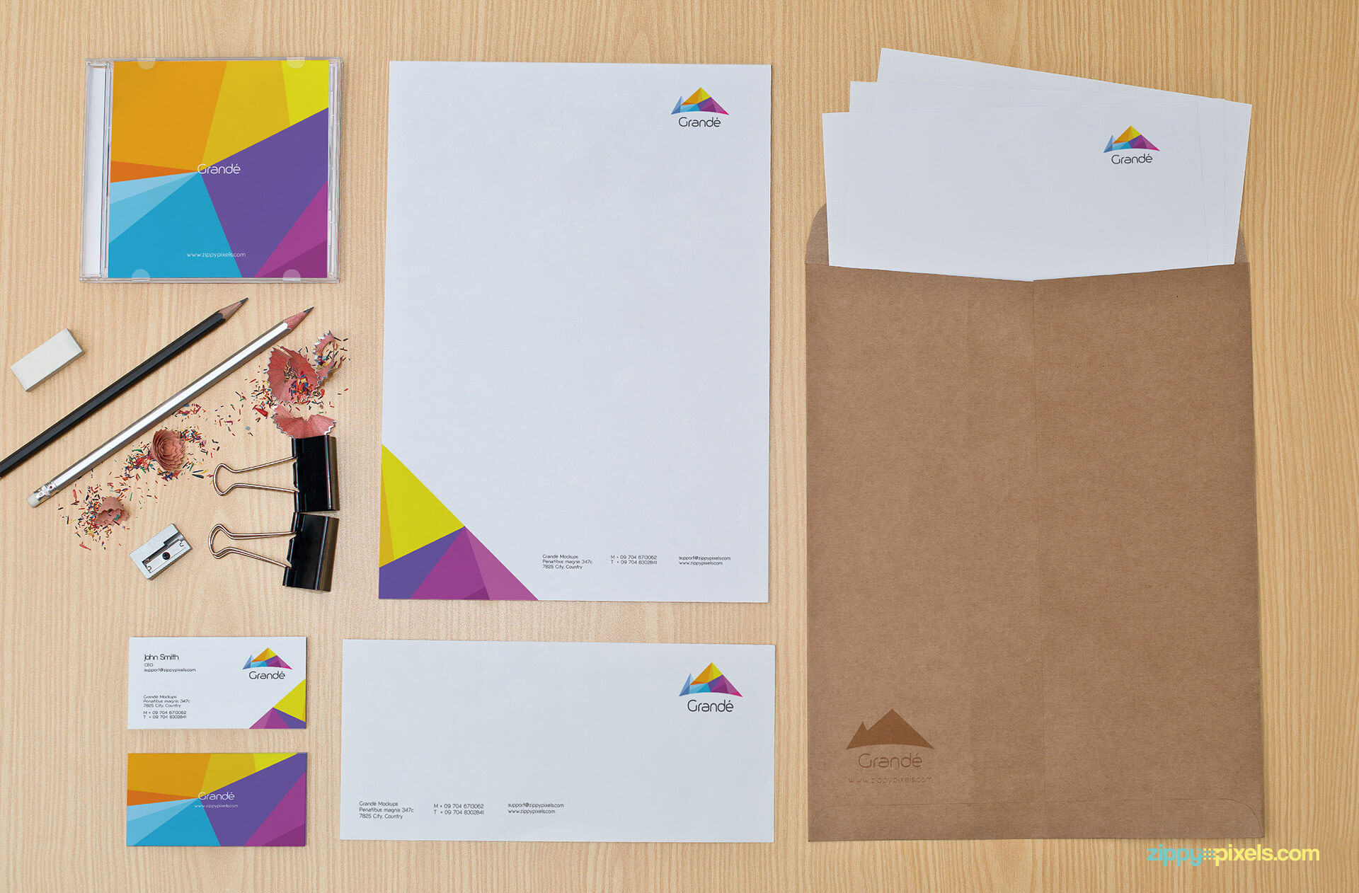 Brand Identity Stationery Mockup with Letterhead, Envelopers