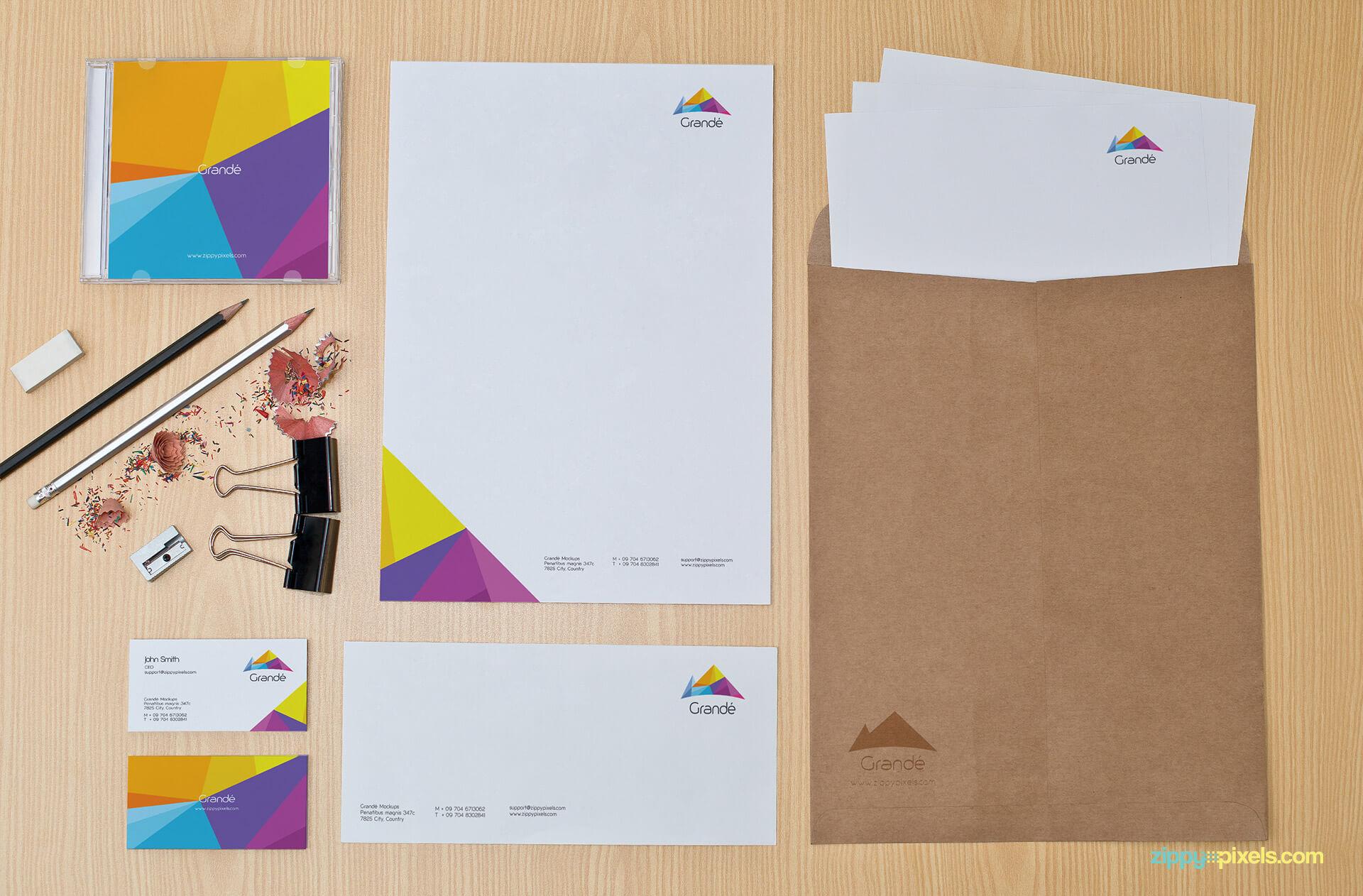 Brand Identity Stationery Mockup with Letterhead, Envelopers
