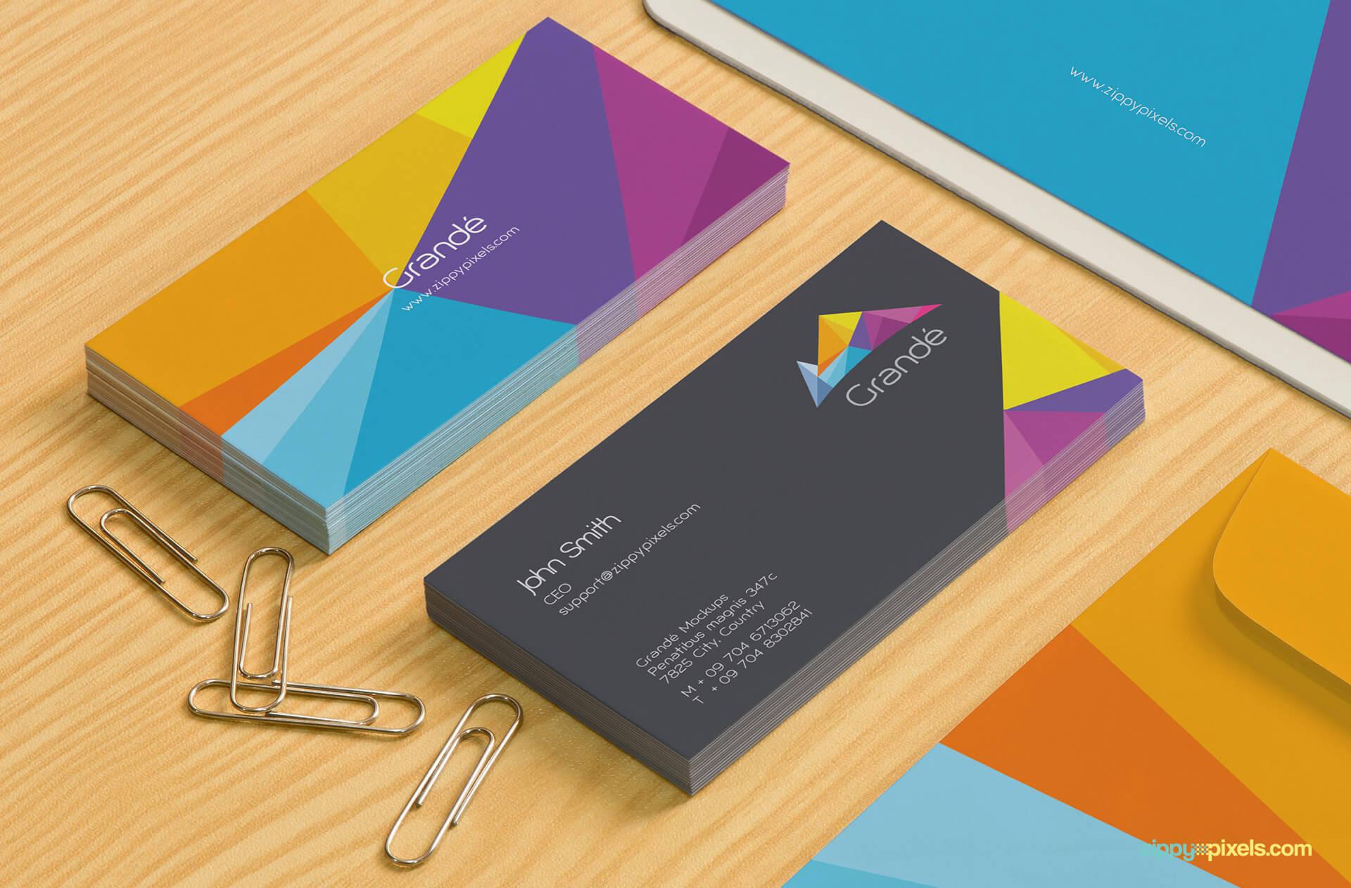 Close up shot of Business Card Mockup