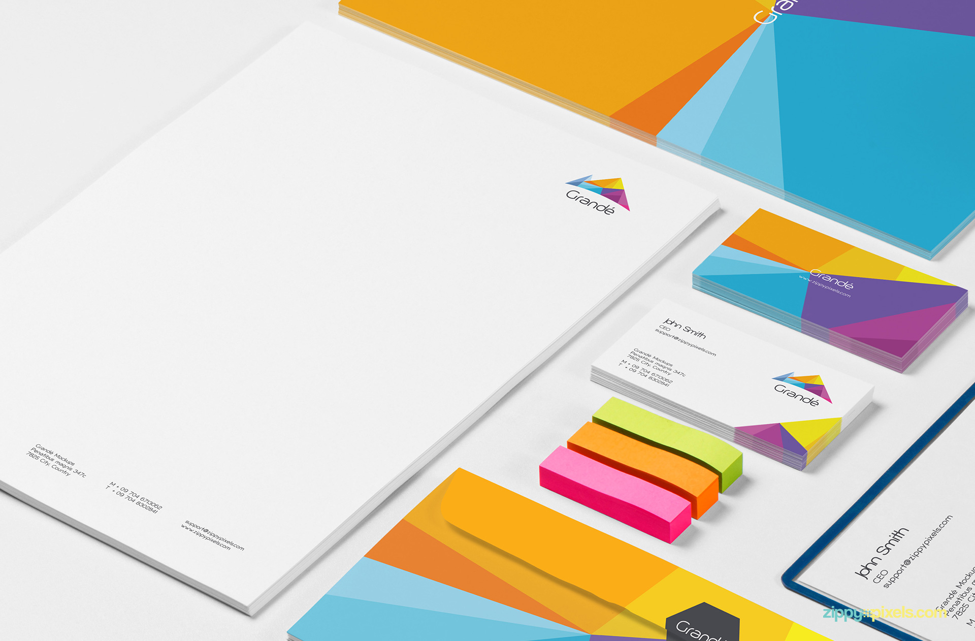 Closeup shot of Letterhead, Business Cards and Envelopes for Corporate Identity Mockup