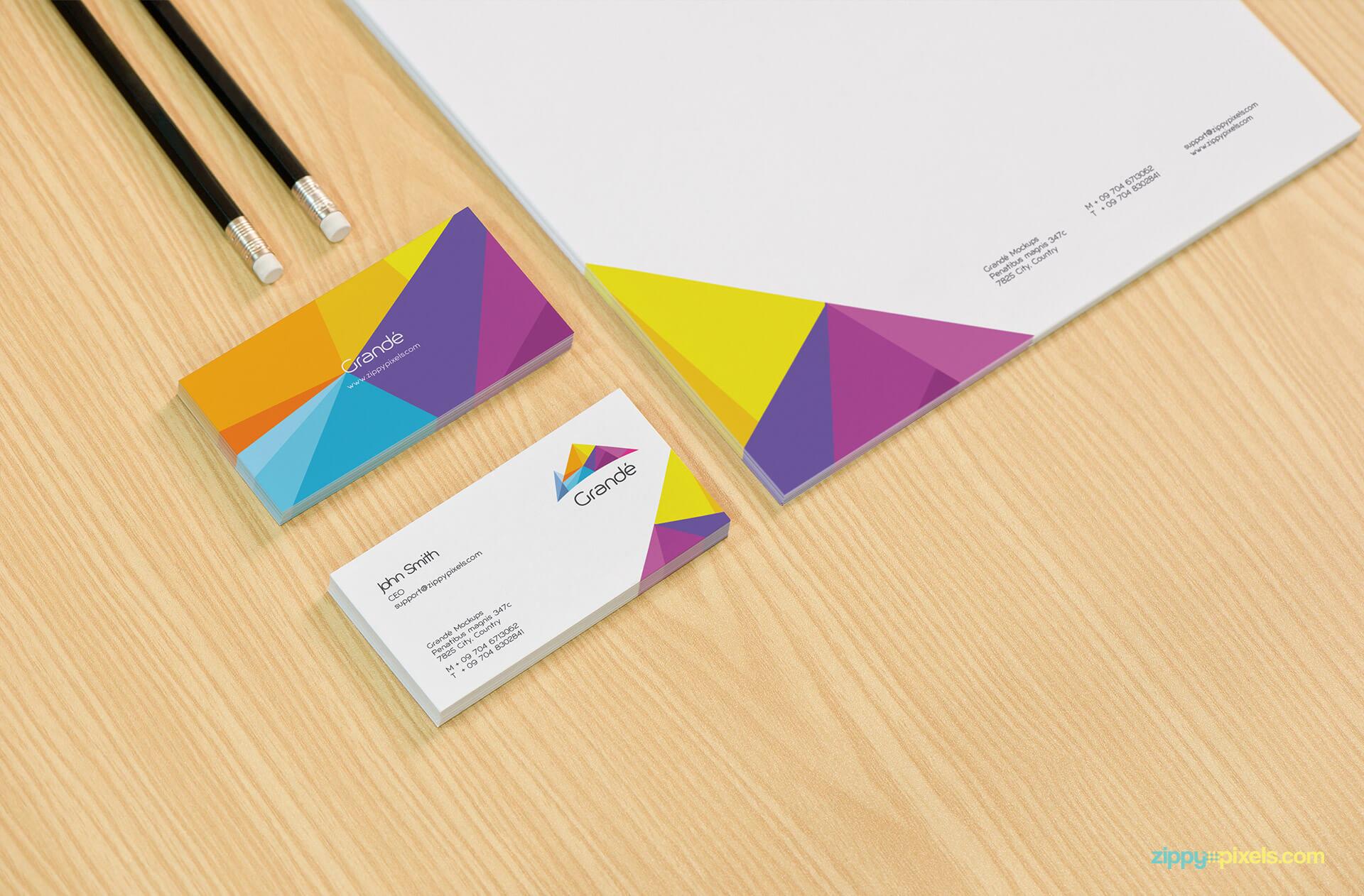 Stationery Branding Mockup of Business Cards & Letterhead