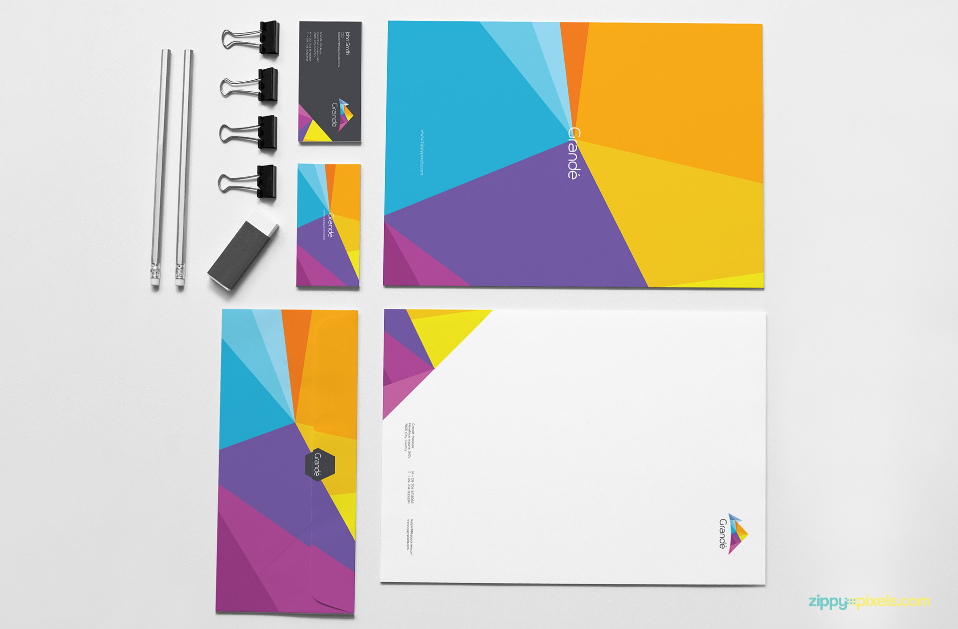 Stationery Item Set of Letterhead, Business Cards & Envelope for Brand Identity Mockup