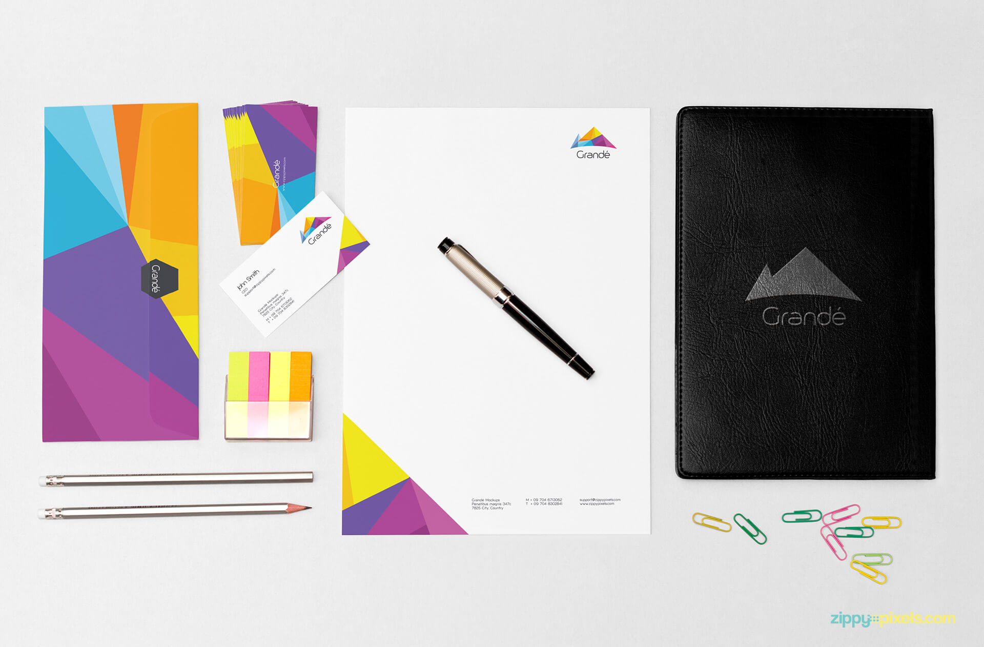 Corporate Identity Mockup of Letterhead, Leather Diary, Business Cards,