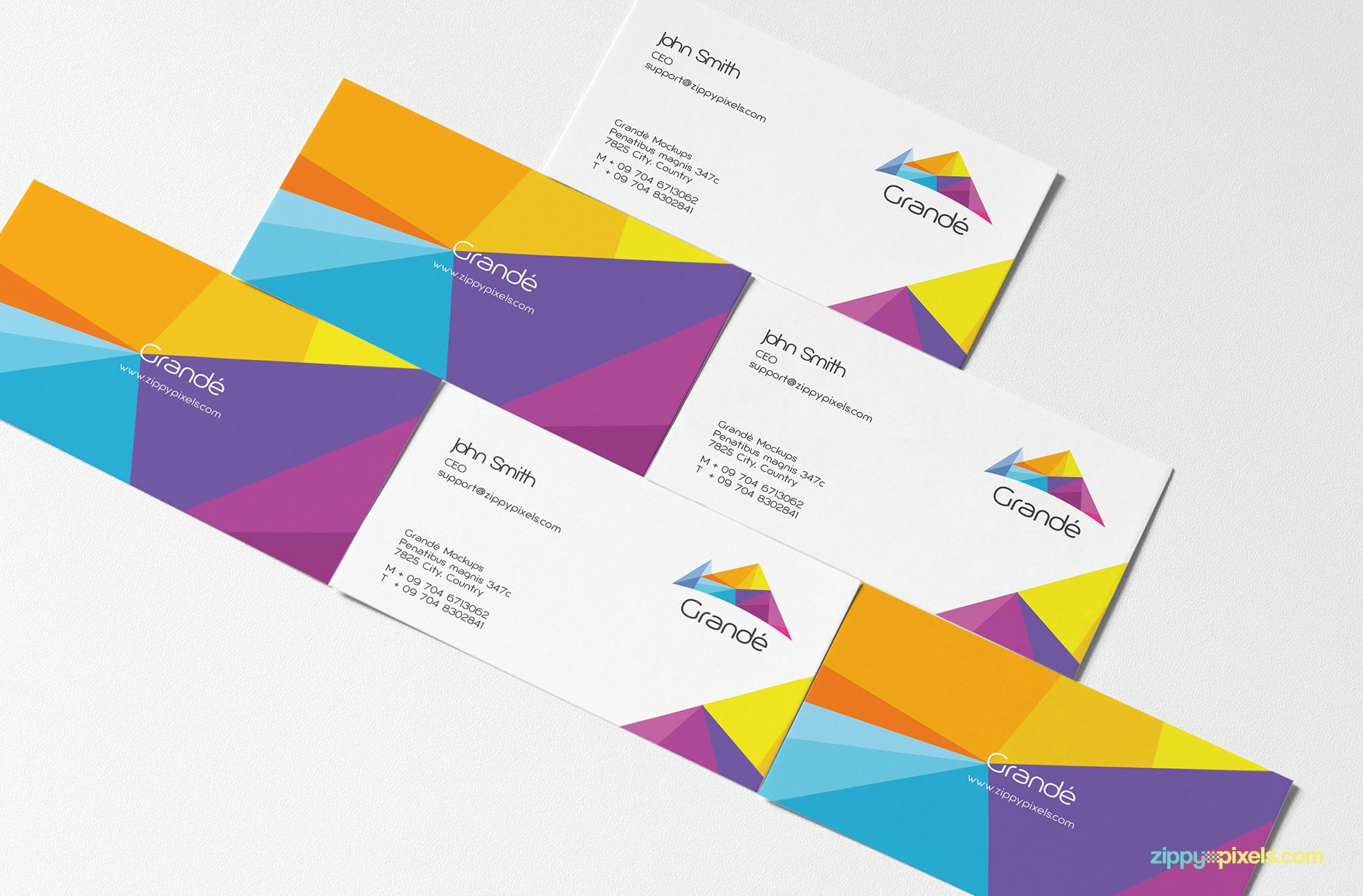 Pyramid of Business Cards for Brand Identity Mockup