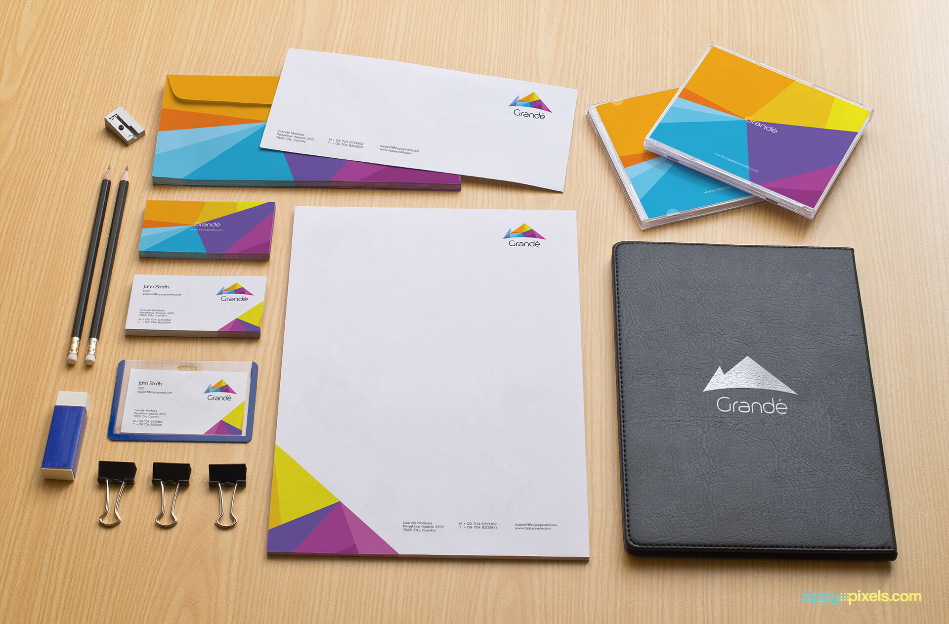 Corporate Identity Stationery Mockup with Envelopes, CD Covers, Business Cards, Letterhead and Leather Diary