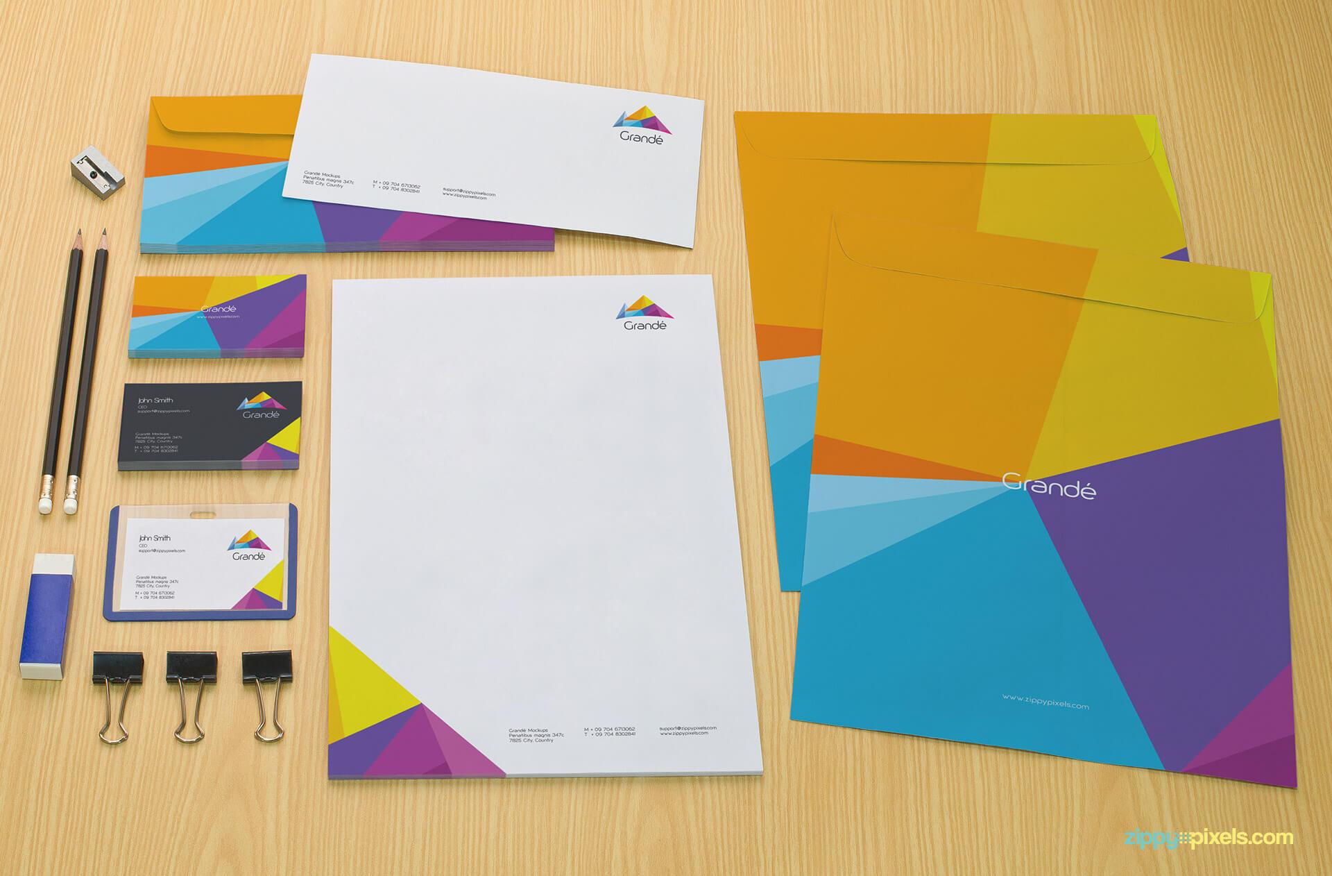 Letter Envelopes, Large Envelopes, Letterhead Branding Mockup