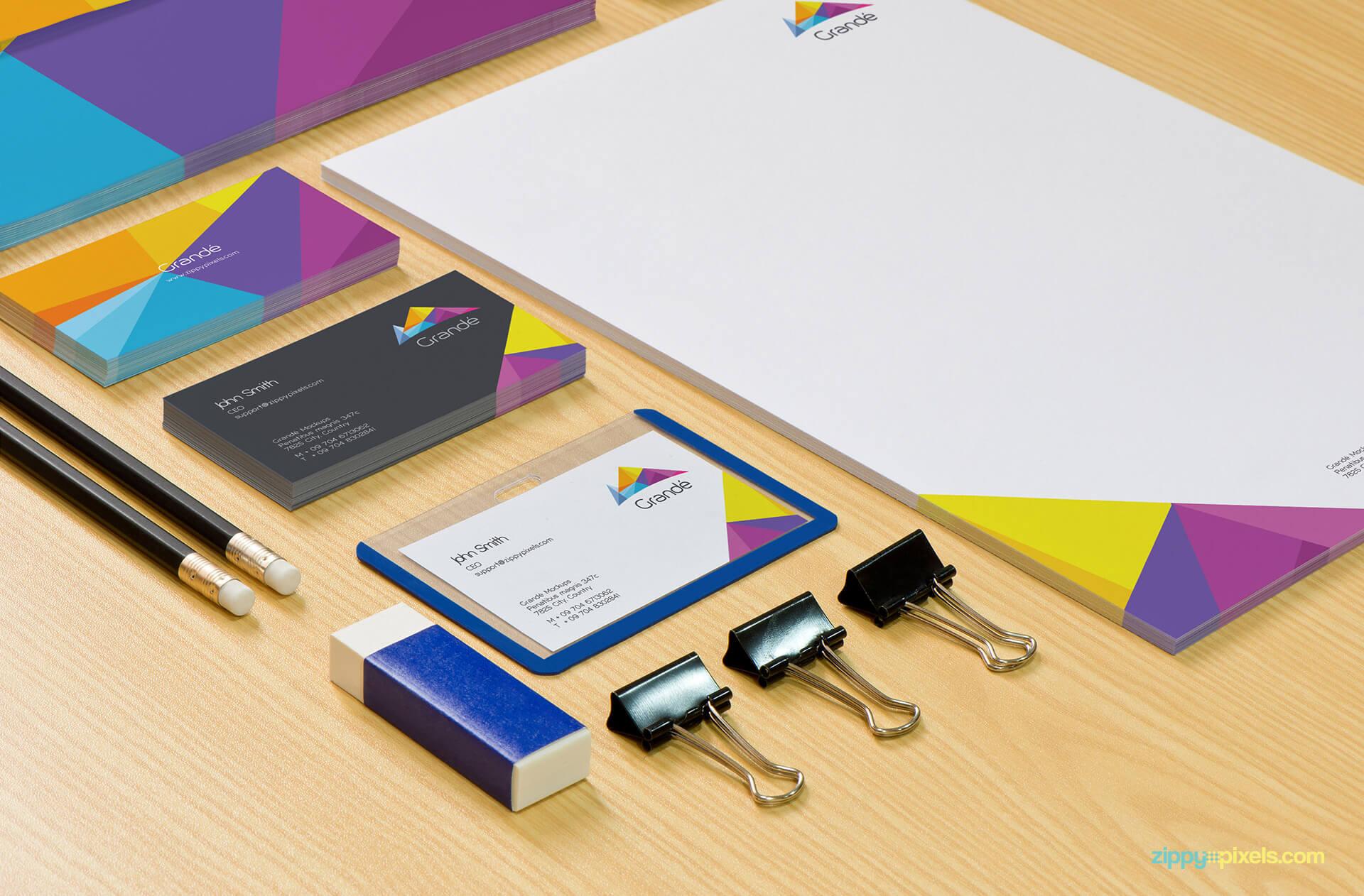 Branding Mockup of Stationery Items like Badge holder, Letterhead, Business Cards