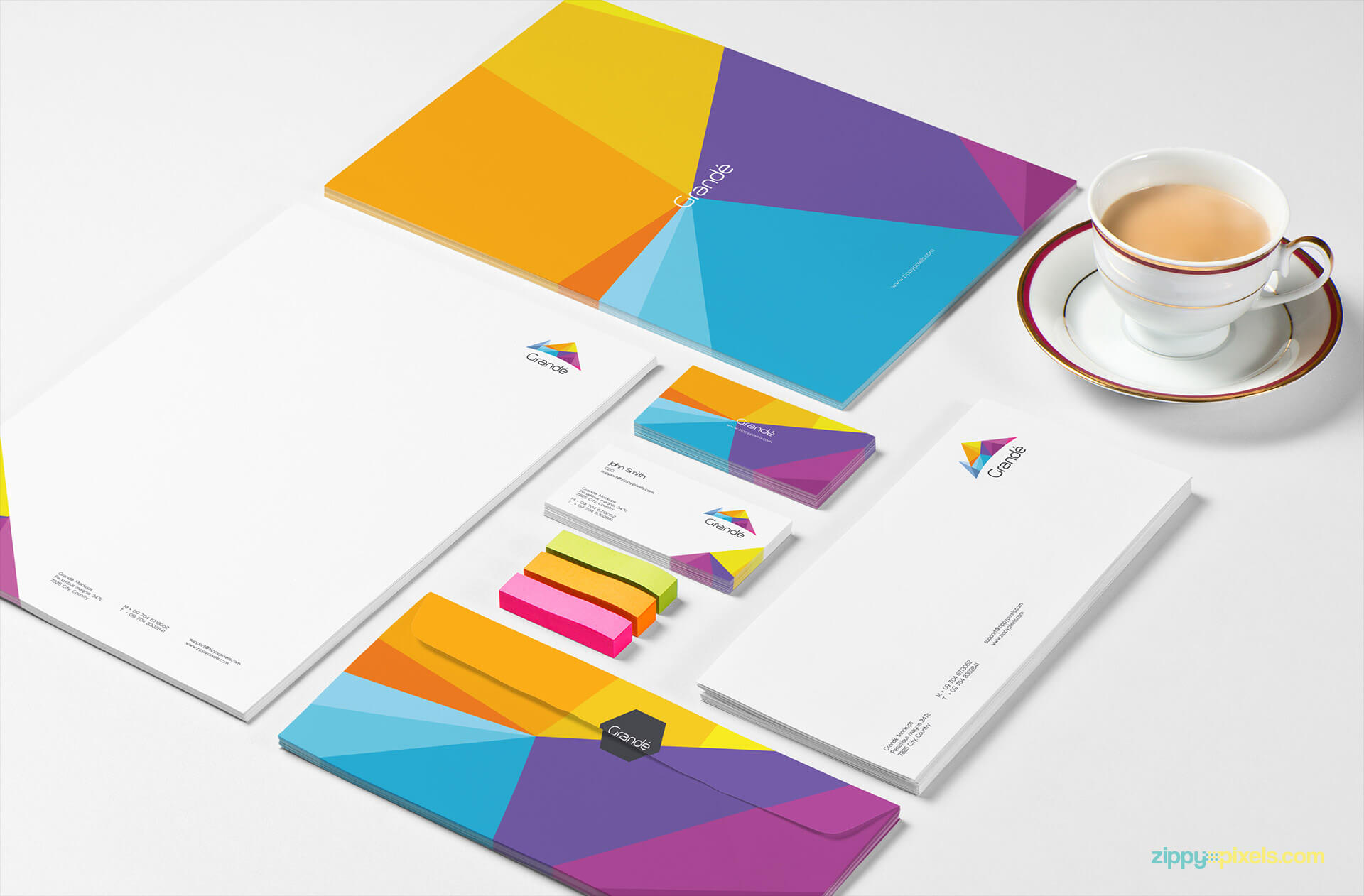Brand Identity Mockup Set of Stationery; Letterhead, Envelopes, Business Cards