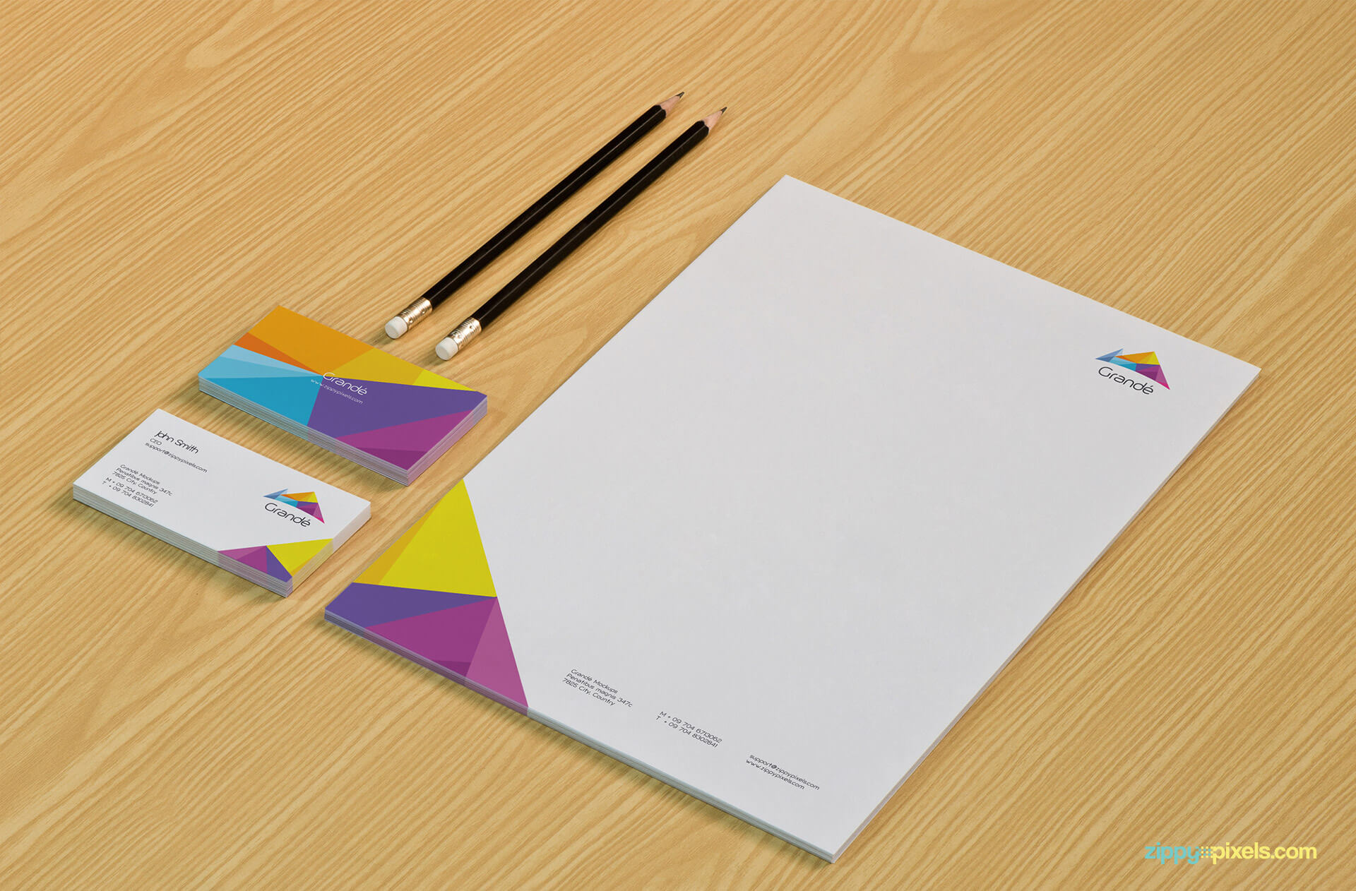 Stationery Brand Identity Mockup of Letterhead & Business Cards