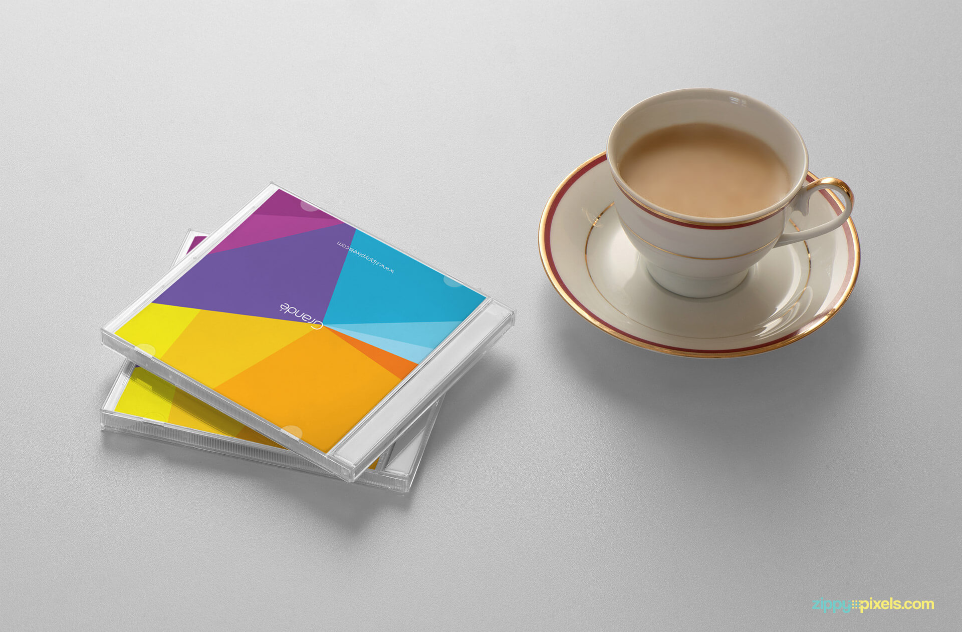 Branding Mockup of CD Covers with Tea Cup