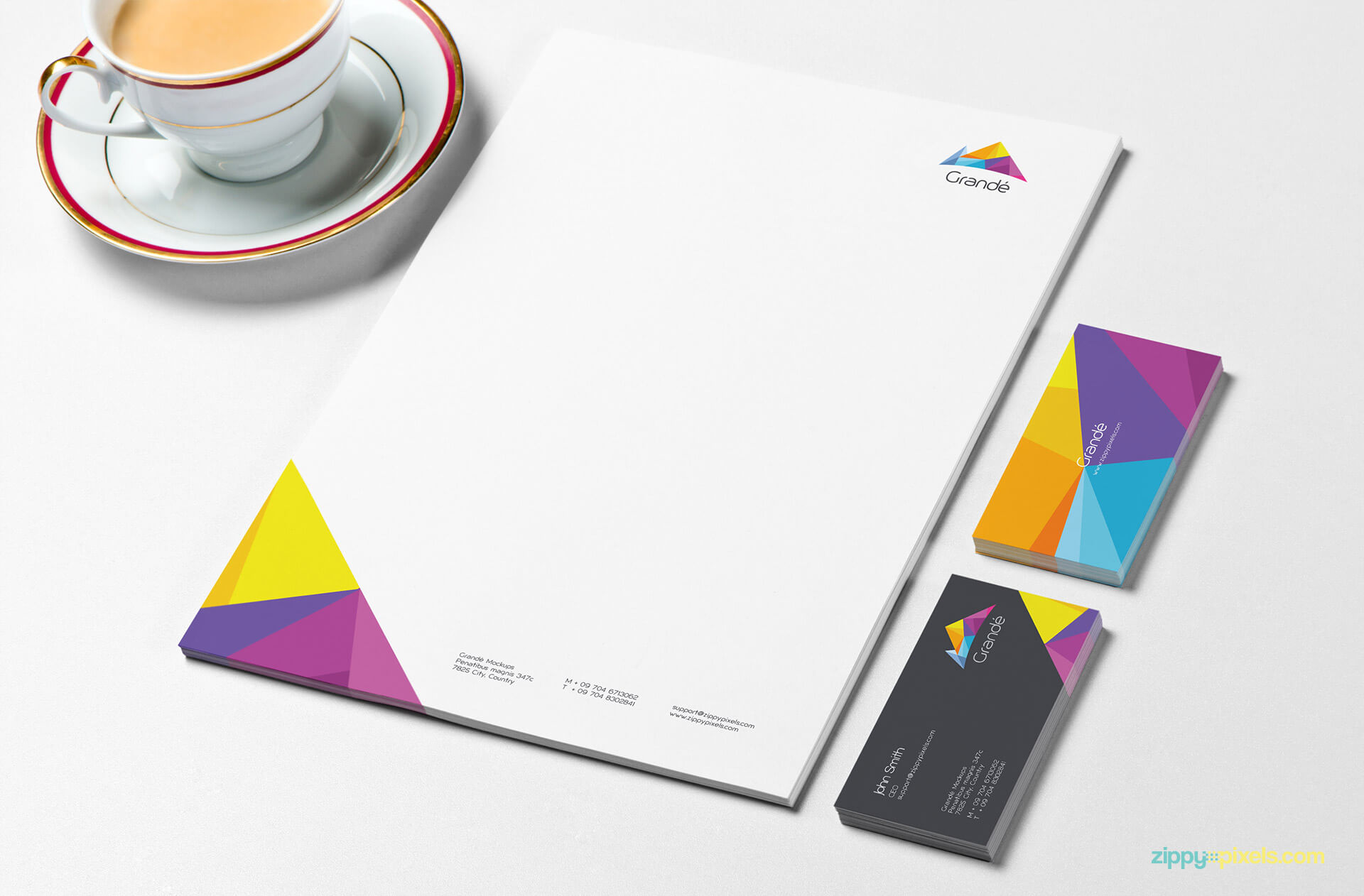 Stationery Mockup of Letterhead and Business Cards