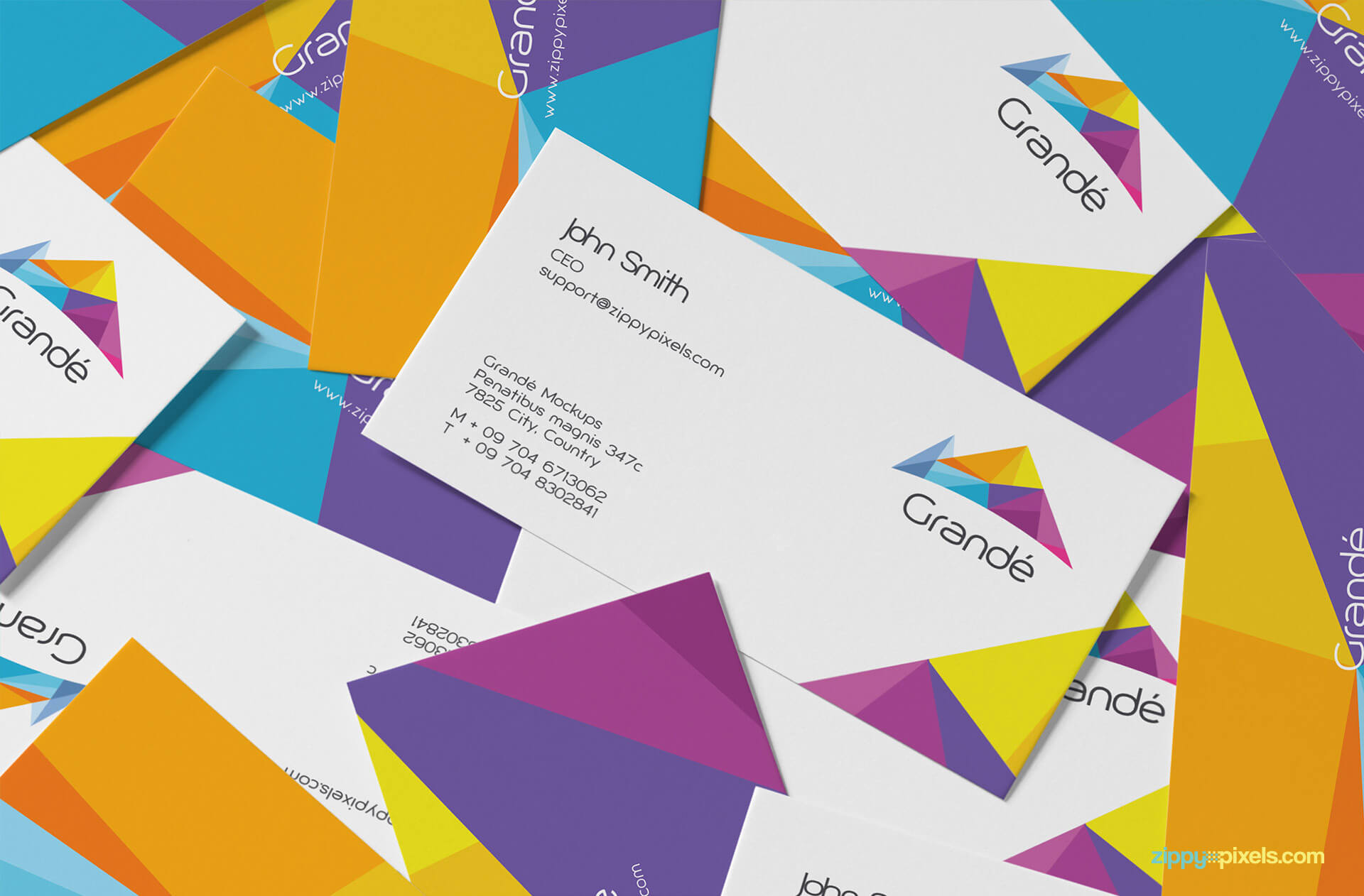 Bunch of Business Cards Mockup