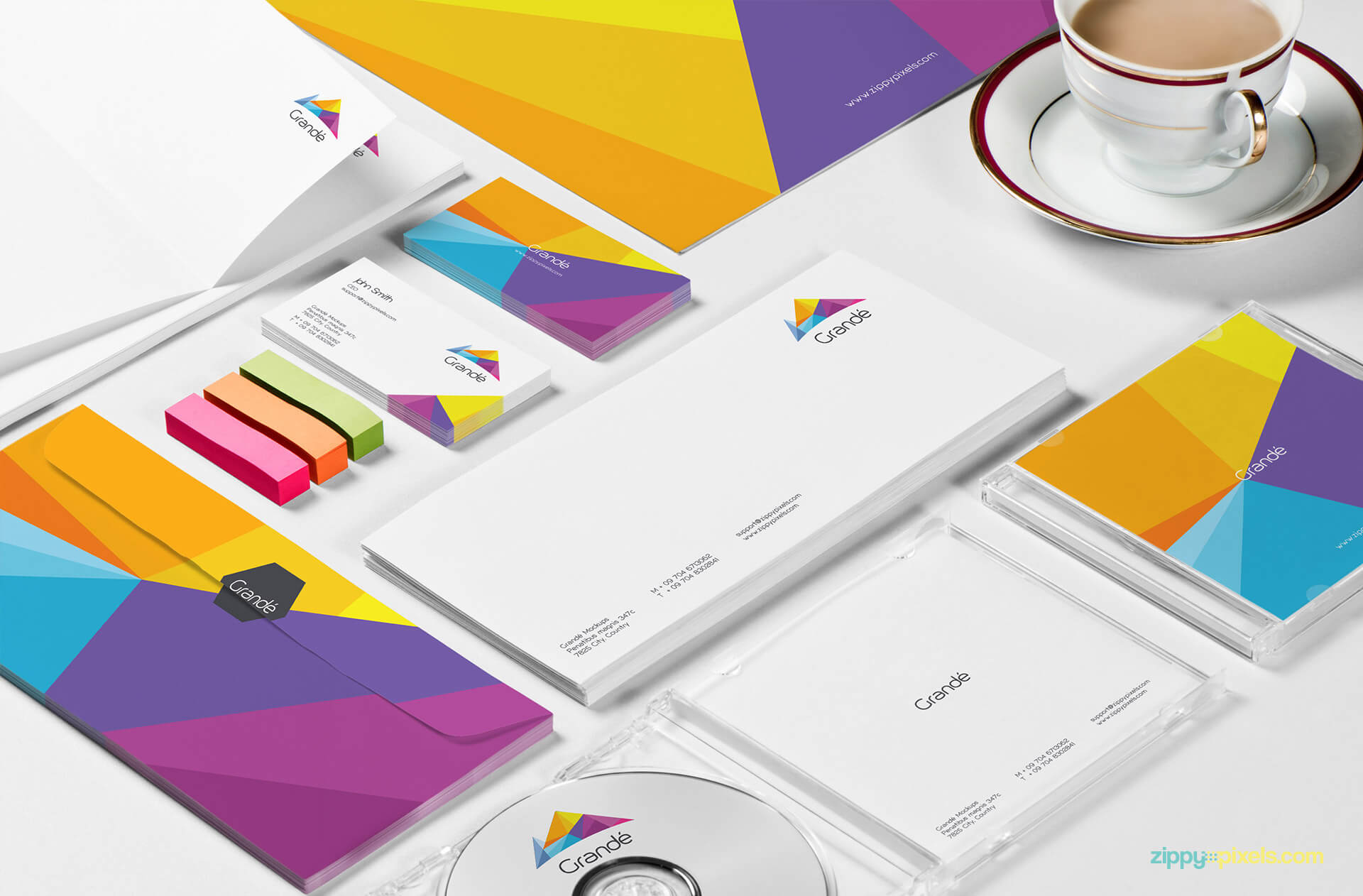 Stationery Branding Mockup - Closeup of Letterhead, Envelope, CD Cover