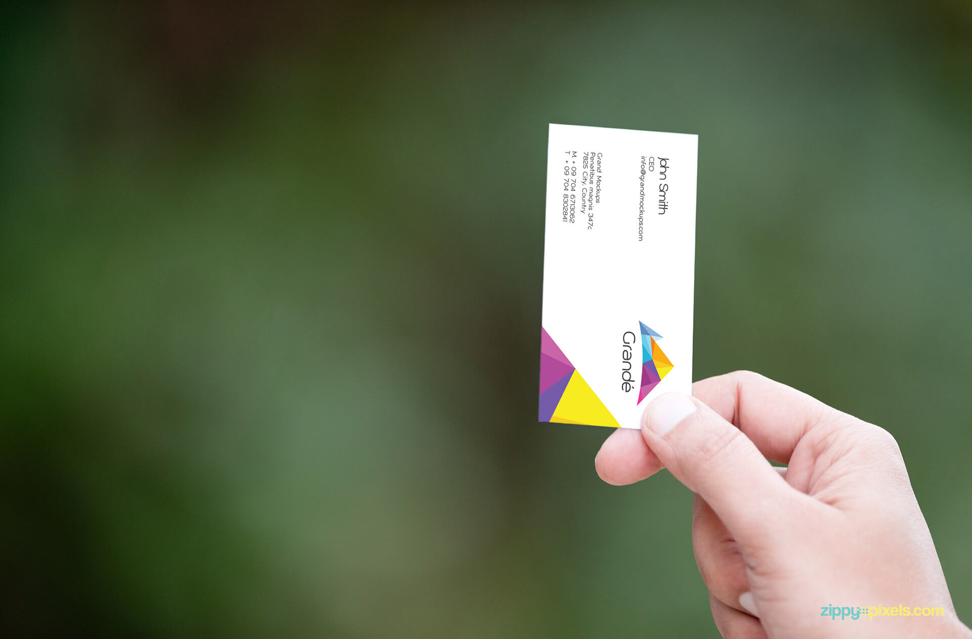 Branding Mockup of a Business Card in Hand