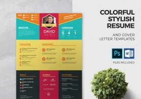 Colorful Stylish Resume and Cover Letter Templates – 3 color sets & 2 formats (DOCX & PSD)