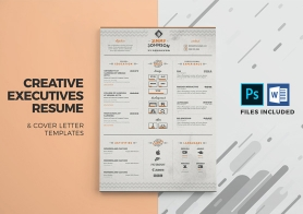 Corporate Resume & Cover Letter Template in 3 color variations (PSD & DOCX files)