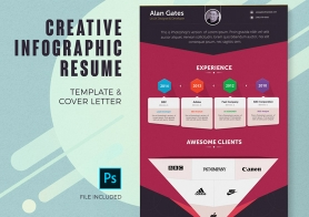 Creative Infographic Resume Template & Cover Letter – 4 Color Schemes