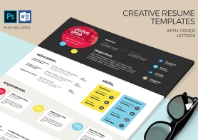 Creative Resume Templates with Cover Letters – MS Word & PSD