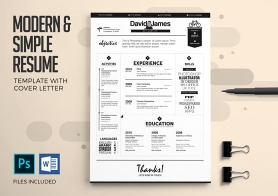 Creative Executives' Resume & Cover Letter Templates in 4 Color versions (PSD & DOCX)