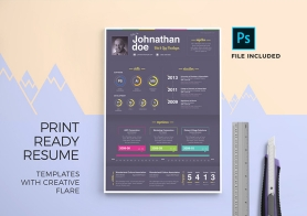Print Ready Resume Templates with Creative Flare – 3 Color Variations + 2 Formats (PSD & DOCX)