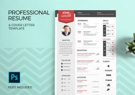 Modern & Simple Resume Template with Cover Letter – 3 Color sets