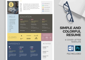 Simple and Colorful Resume & Cover Letter Template Set (PSD & DOCX)
