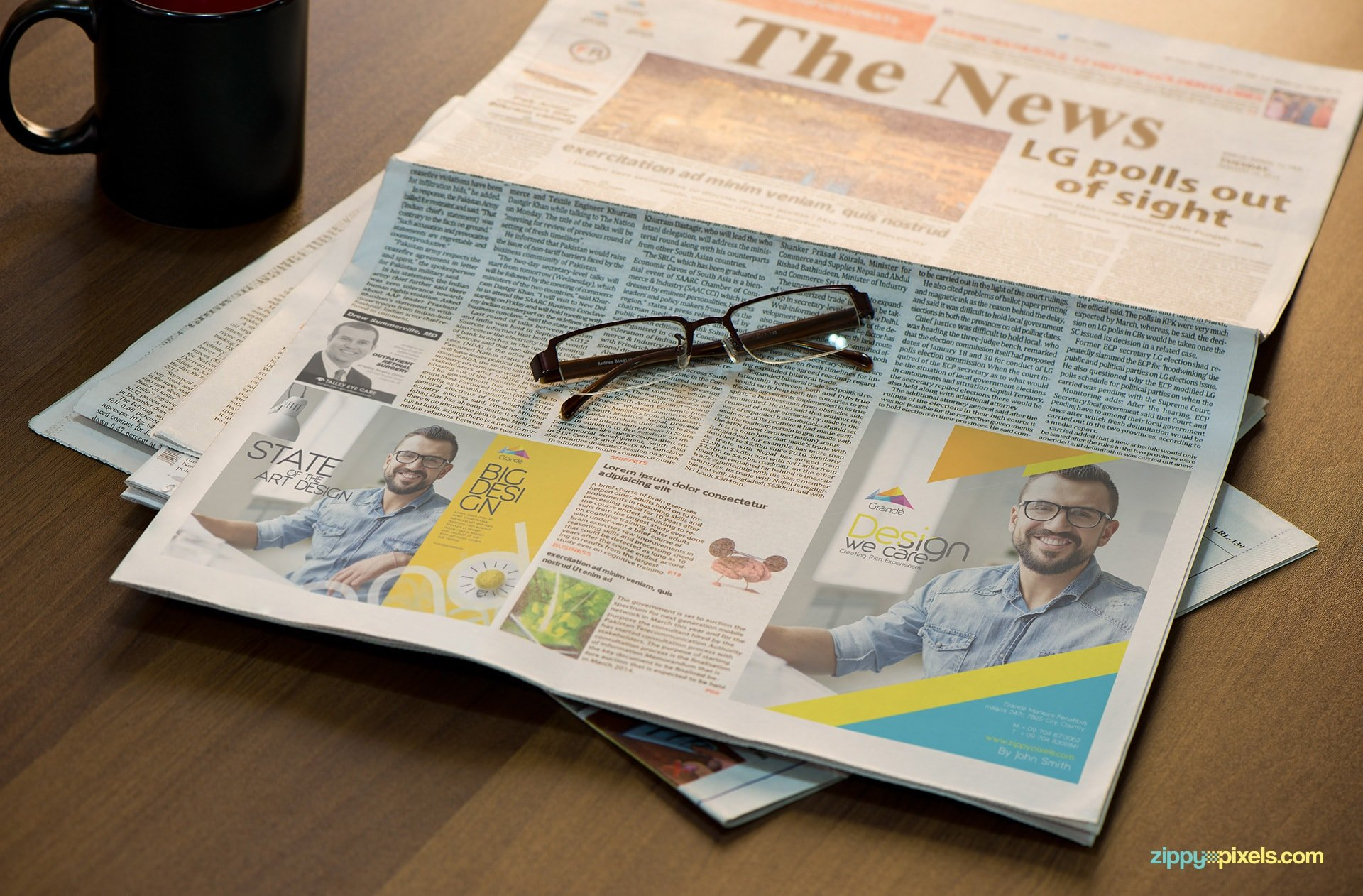 Advertising Mockup of Newspaper with 2 Ad spaces