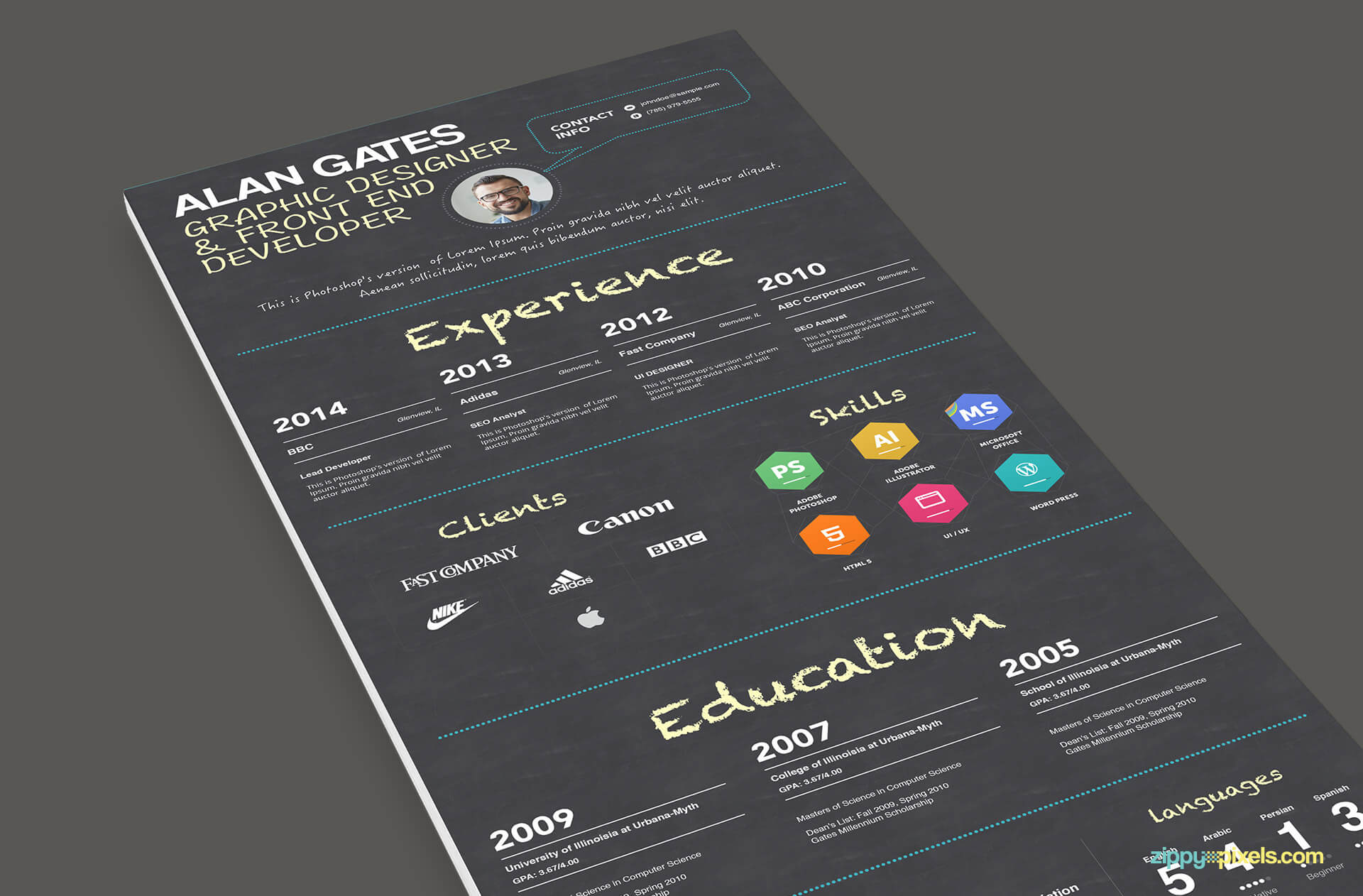 Multipurpose Resume Template Black Version