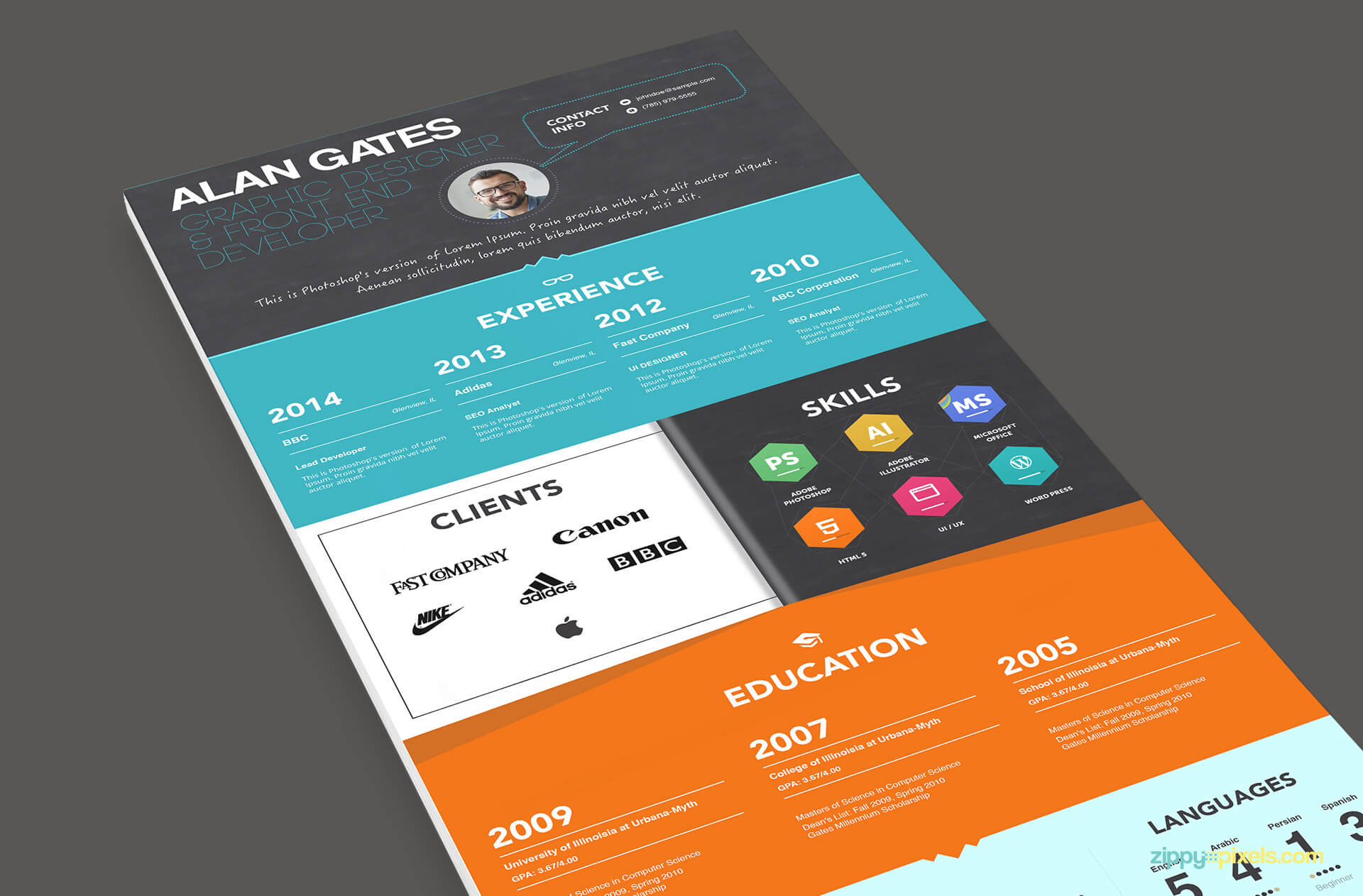 Multipurpose Resume Template Color 3