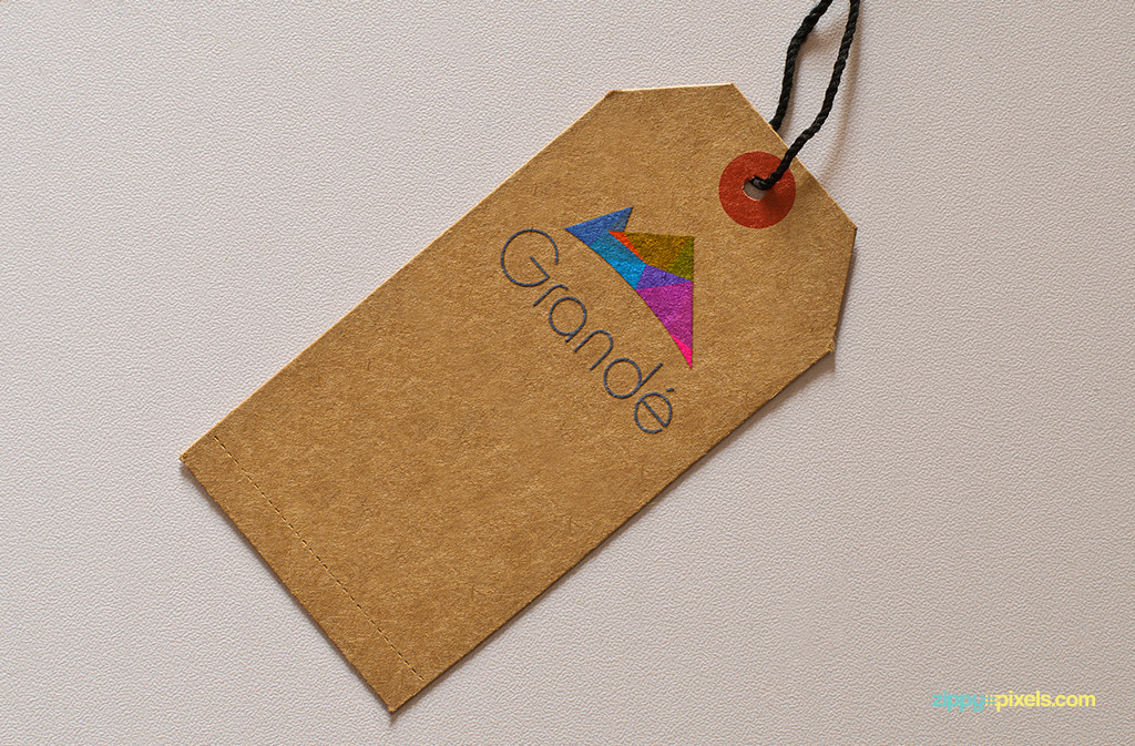 Tag with embossed logo for Logo Mockup