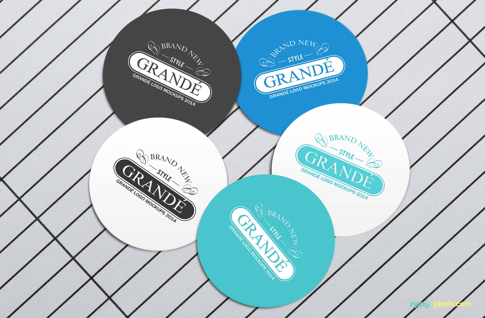 Logo mockup - circular badges with silver background
