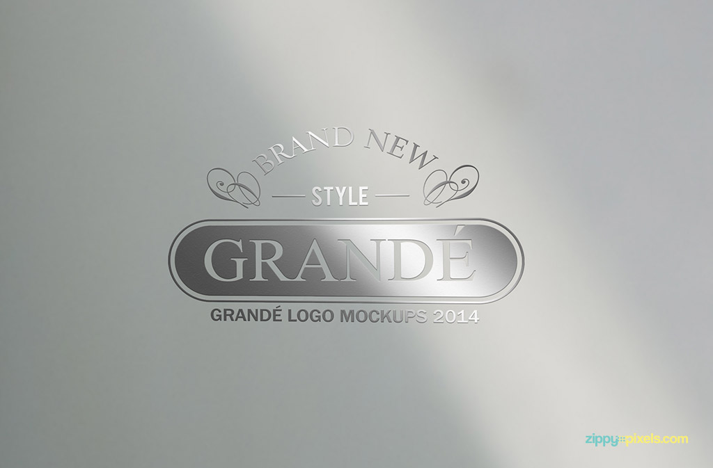 Mockup of Silver Logo with light effects