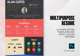 4 Multipurpose Resume and Cover Letter Templates Set