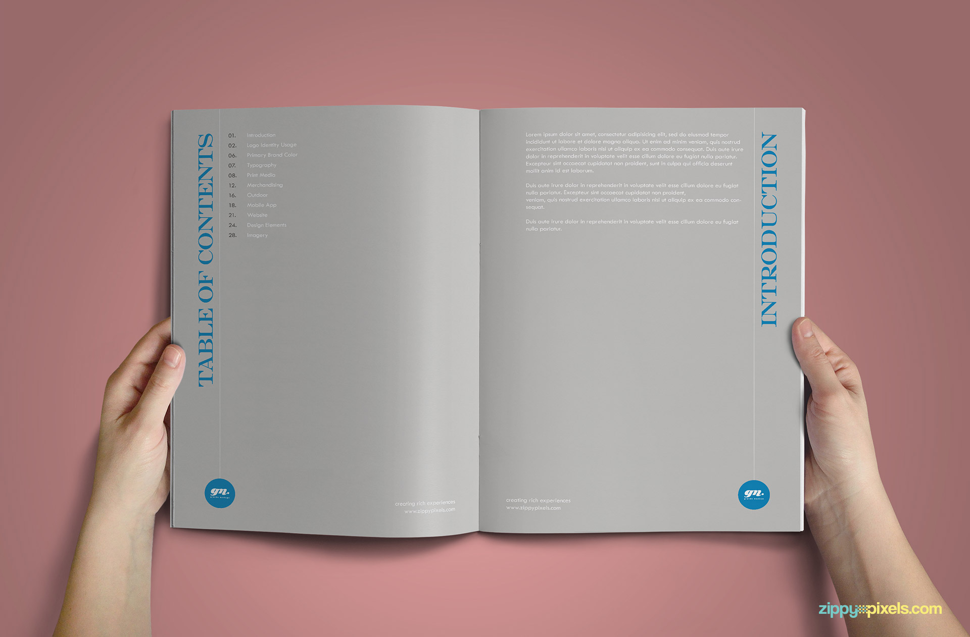 Clean Brand Book Template for Corprate Identity - Table of Content