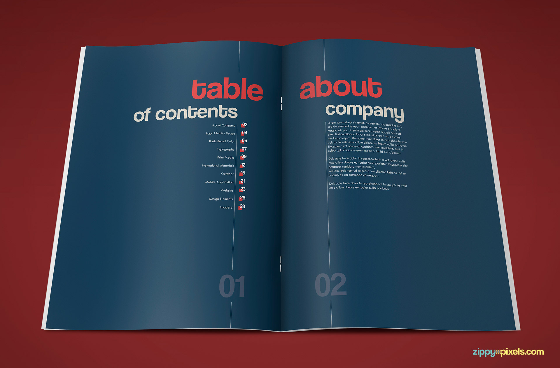 Table of Contents Page of Professional Brand Guidelines Template