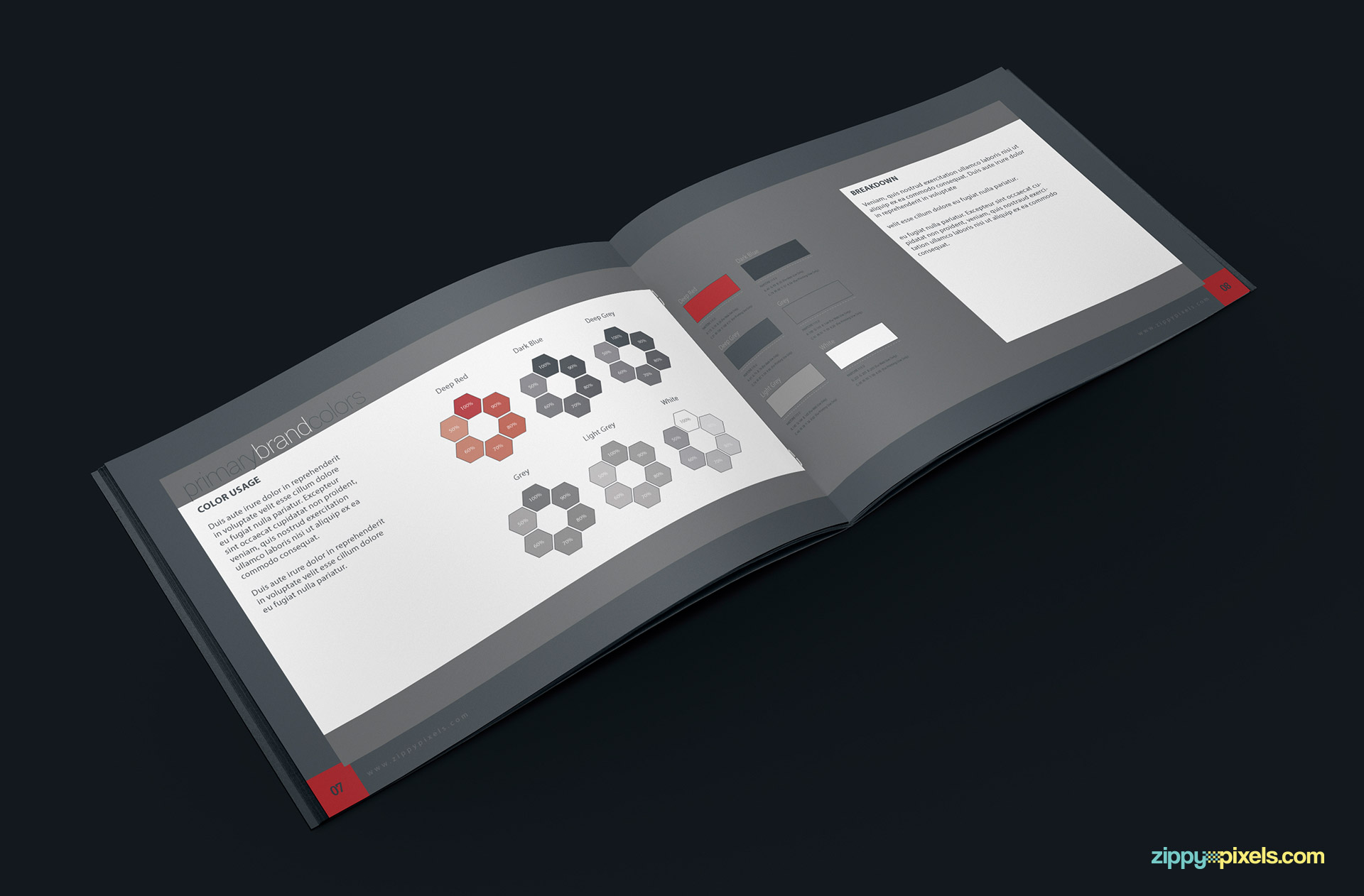Brand book template for corporate guidelines zippypixels for Free brand guidelines template