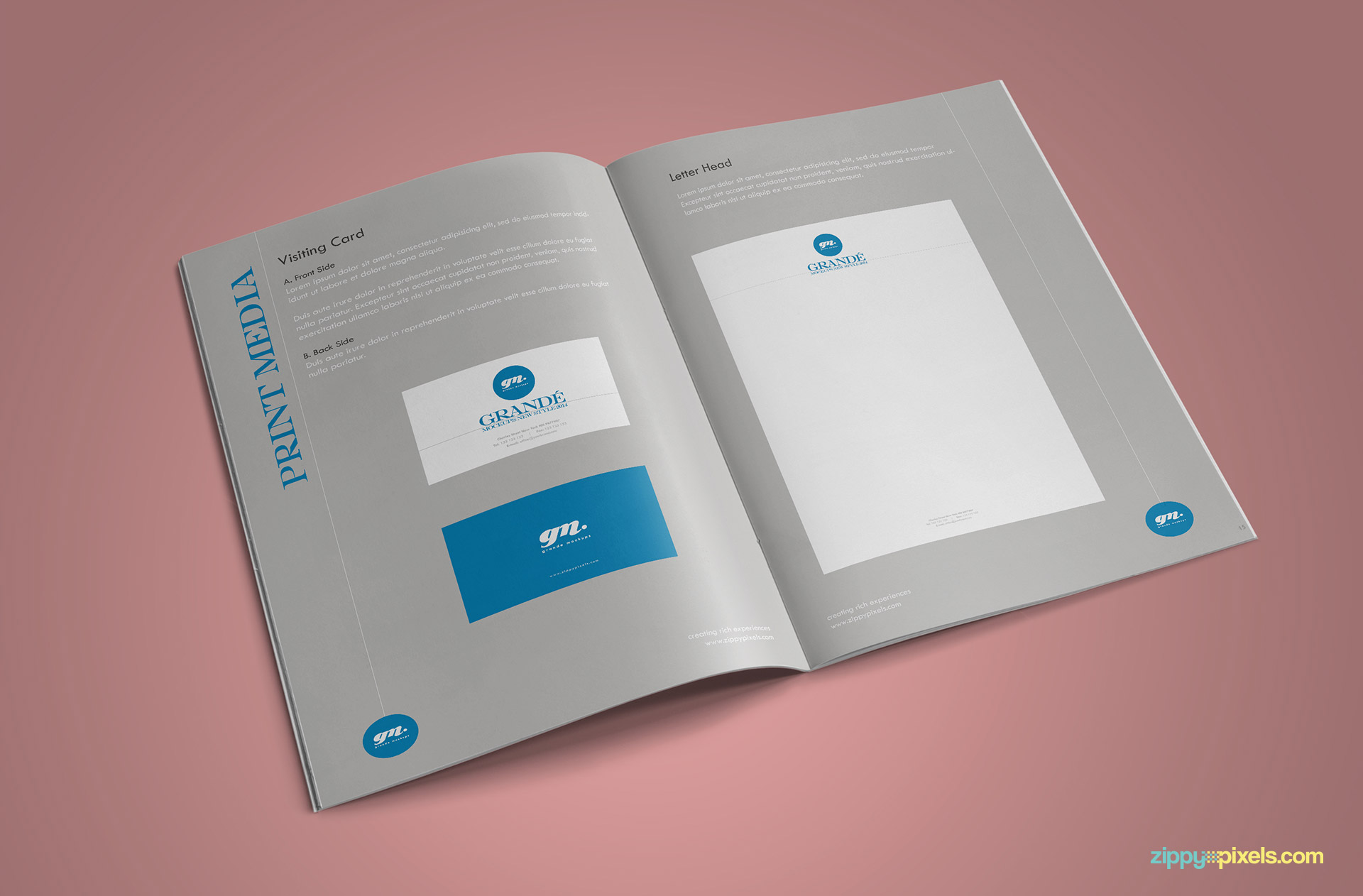 Clean Brand Book Template Corprate Identiy Guidelines for Letterhead & Business Cards