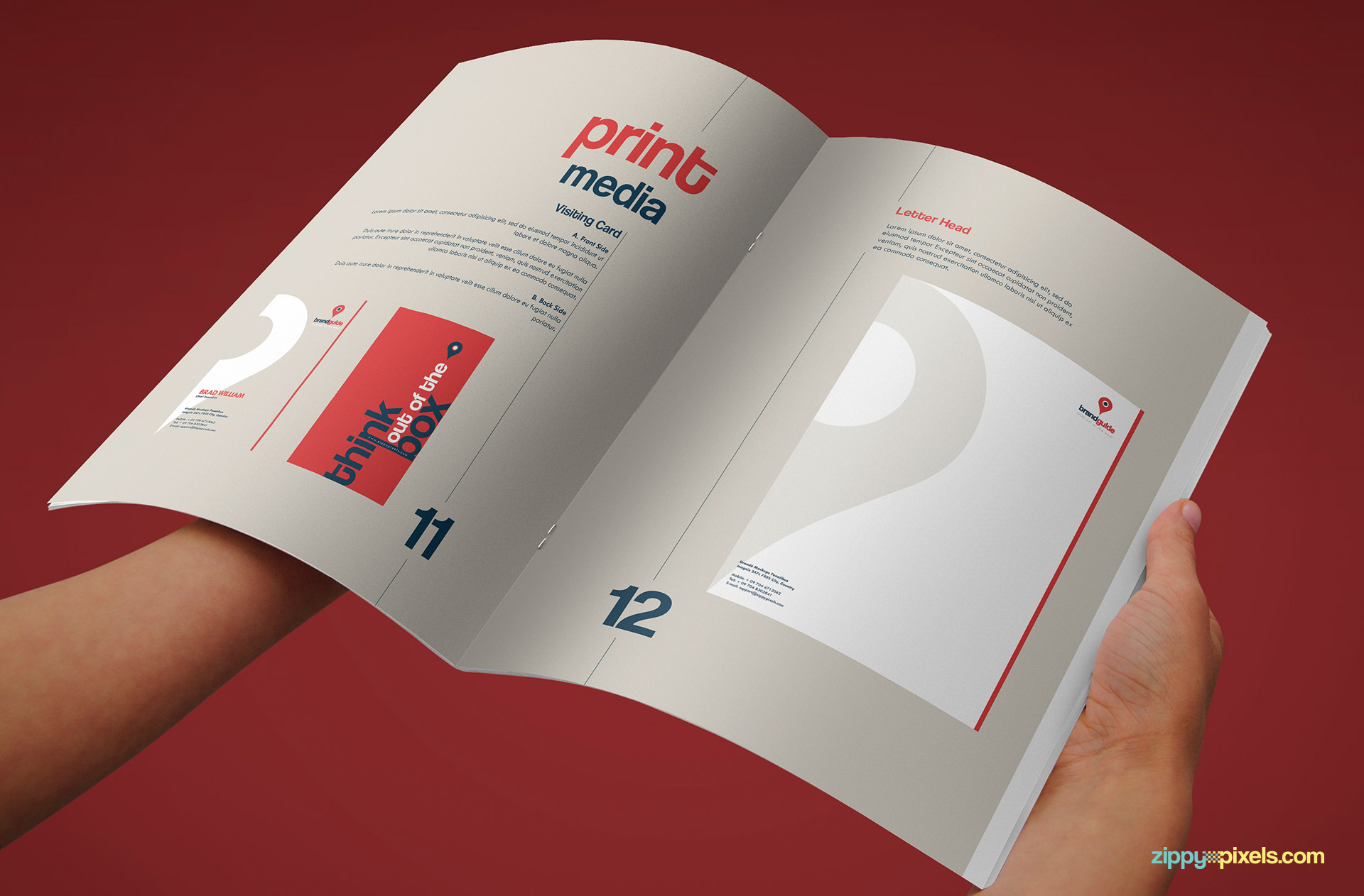 Print Media Page of Professional Brand Guidelines Template